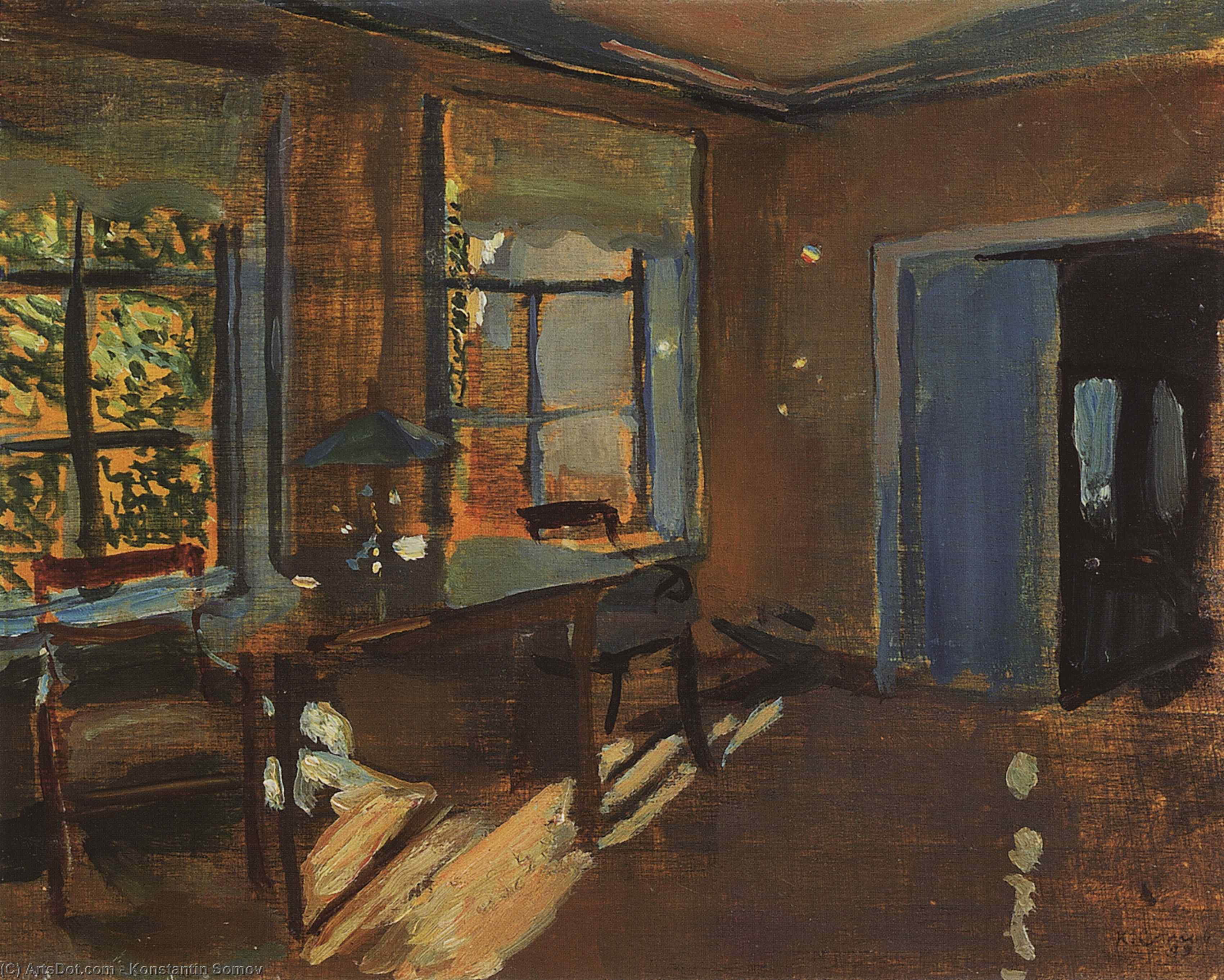 The Interior of the Pavlovs country house, 1899 by Konstantin Somov (1869-1939, Russia) | Art Reproduction | ArtsDot.com