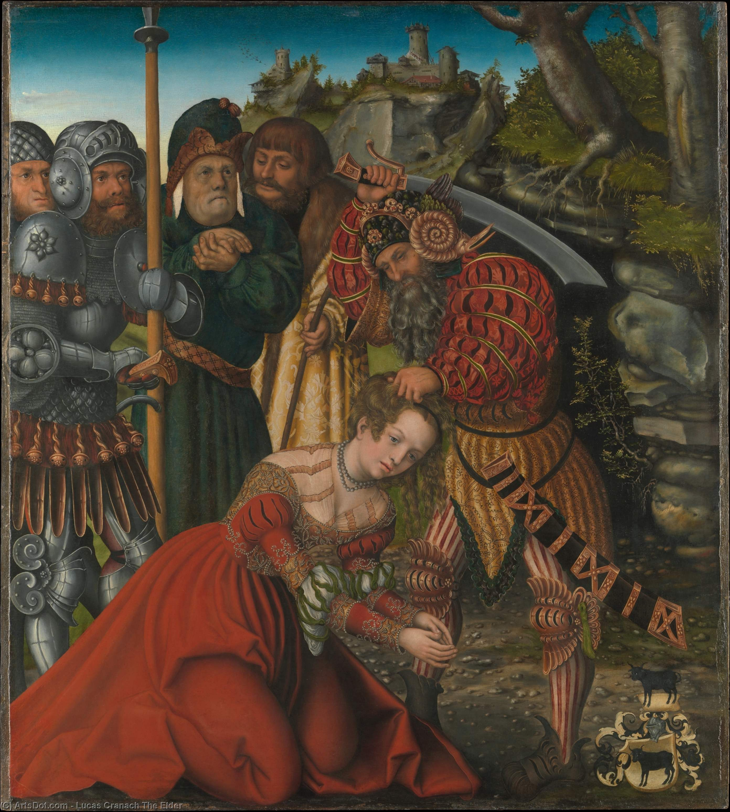 The Martyrdom of St. Barbara, Oil by Lucas Cranach The Elder (1472-1553, Germany)