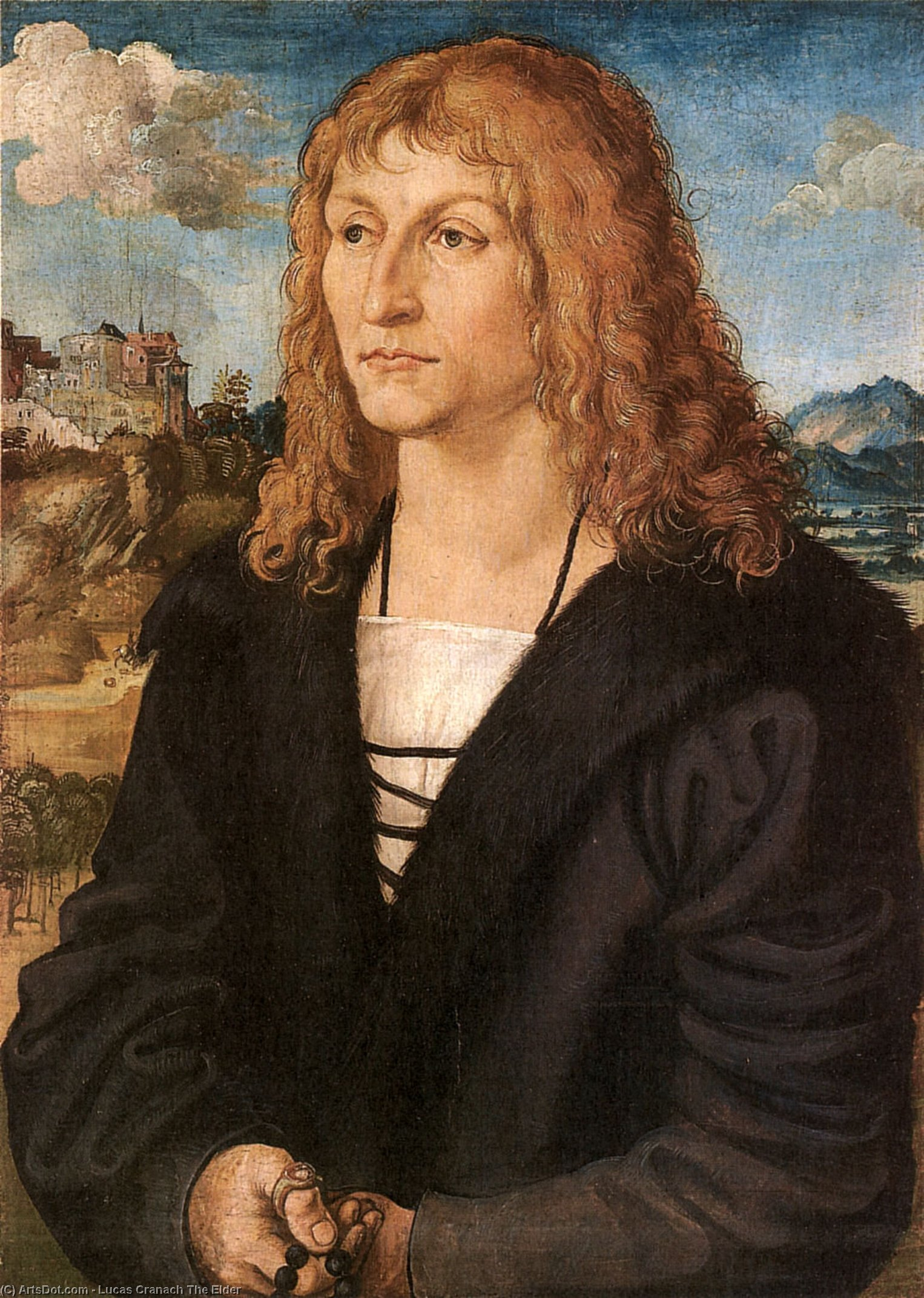 Beardless young man, Oil by Lucas Cranach The Elder (1472-1553, Germany)