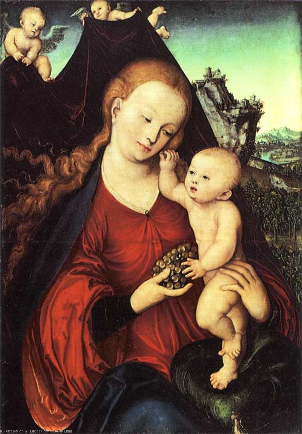 Madonna and Child with a Bunch of Grapes, Oil by Lucas Cranach The Elder (1472-1553, Germany)