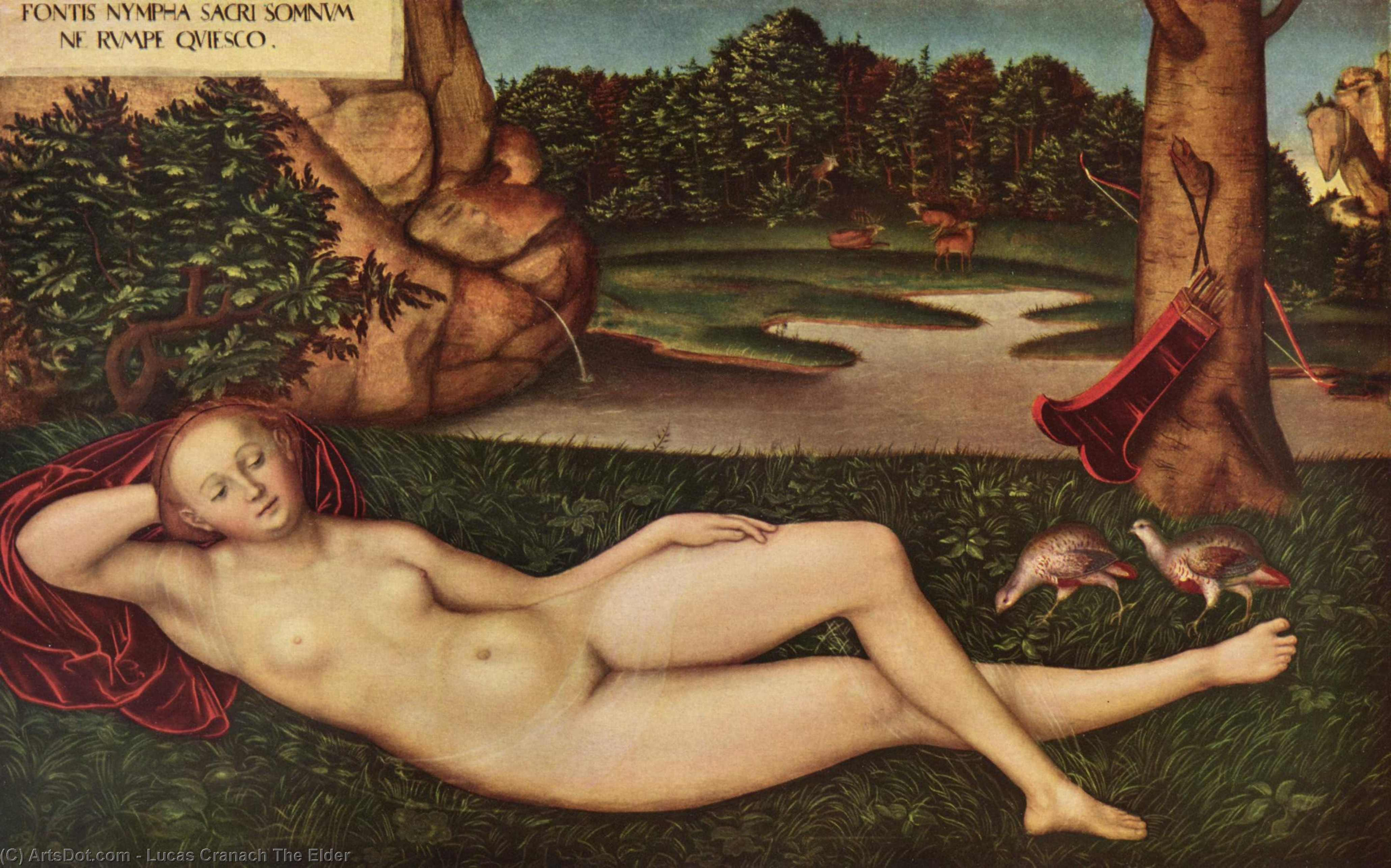 Sleeping Nymph of the Spring, Oil by Lucas Cranach The Elder (1472-1553, Germany)