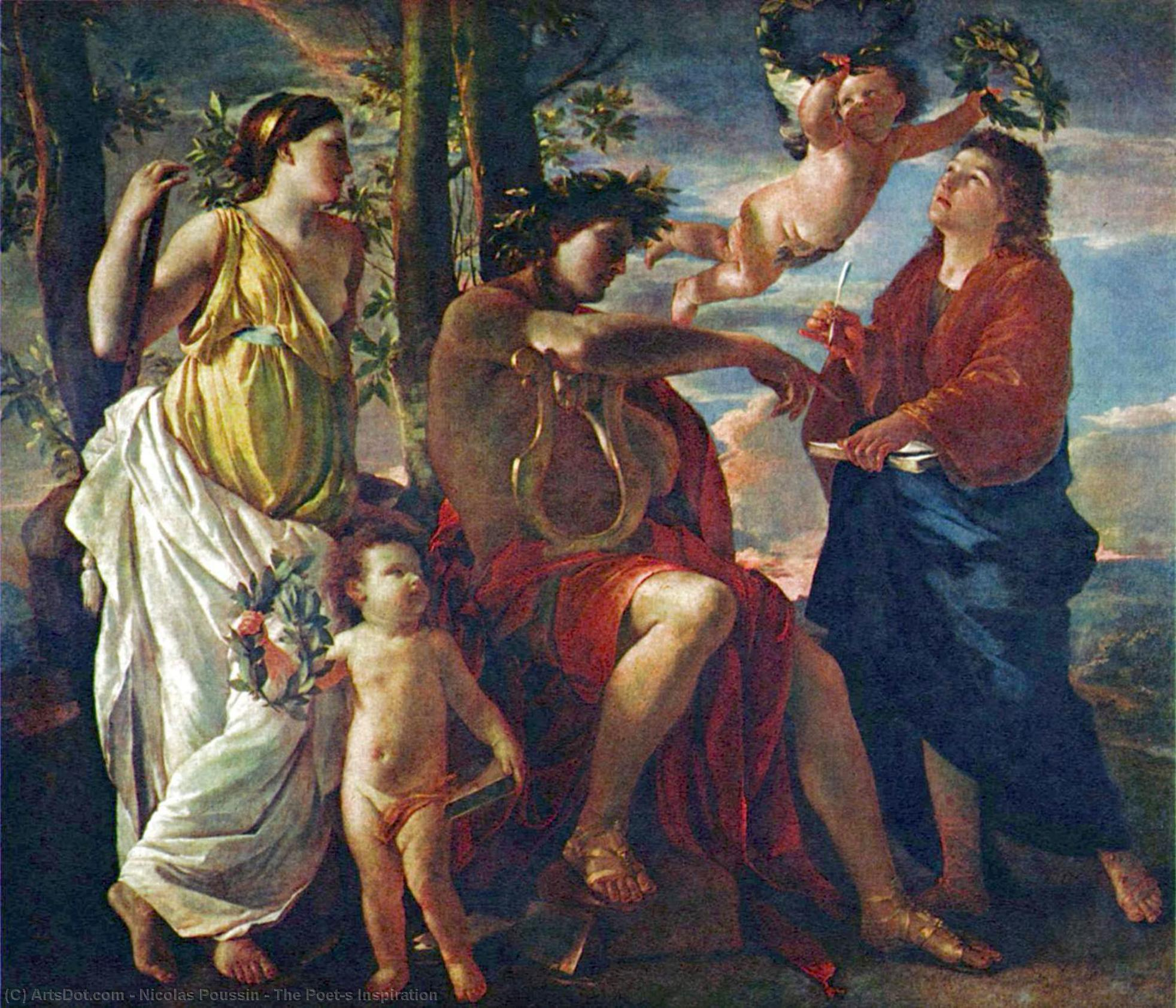 The Poet`s Inspiration, 1630 by Nicolas Poussin (1594-1665, France) | Paintings Reproductions Nicolas Poussin | ArtsDot.com