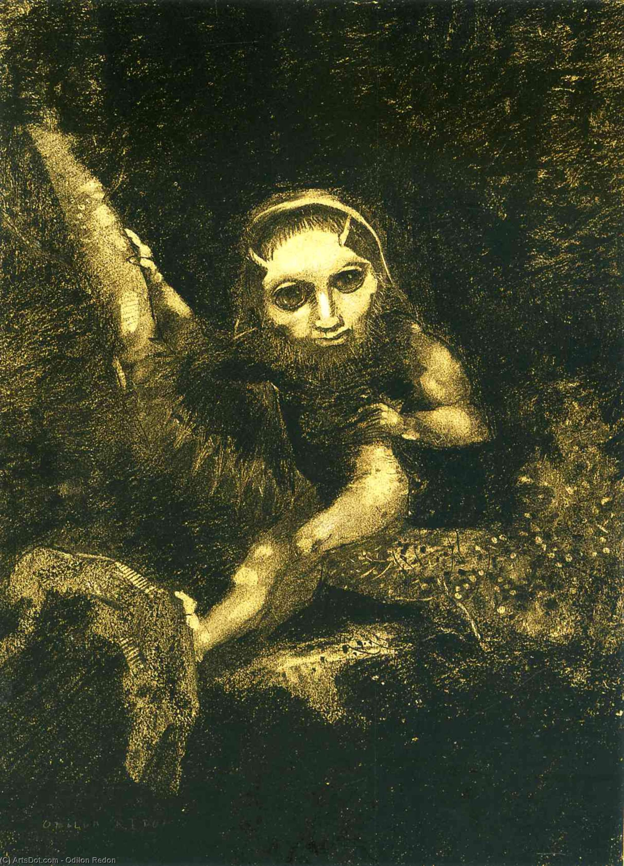 Order Paintings Reproductions | Caliban on a branch, 1881 by Odilon Redon (1840-1916, France) | ArtsDot.com