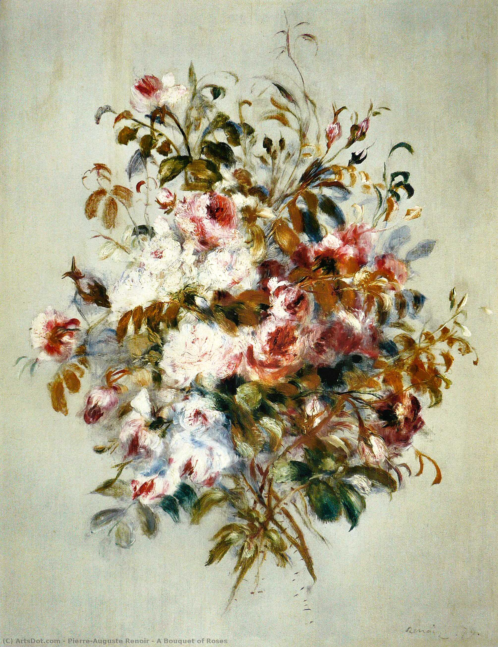 Order Paintings Reproductions | A Bouquet of Roses, 1879 by Pierre-Auguste Renoir (1841-1919, France) | ArtsDot.com