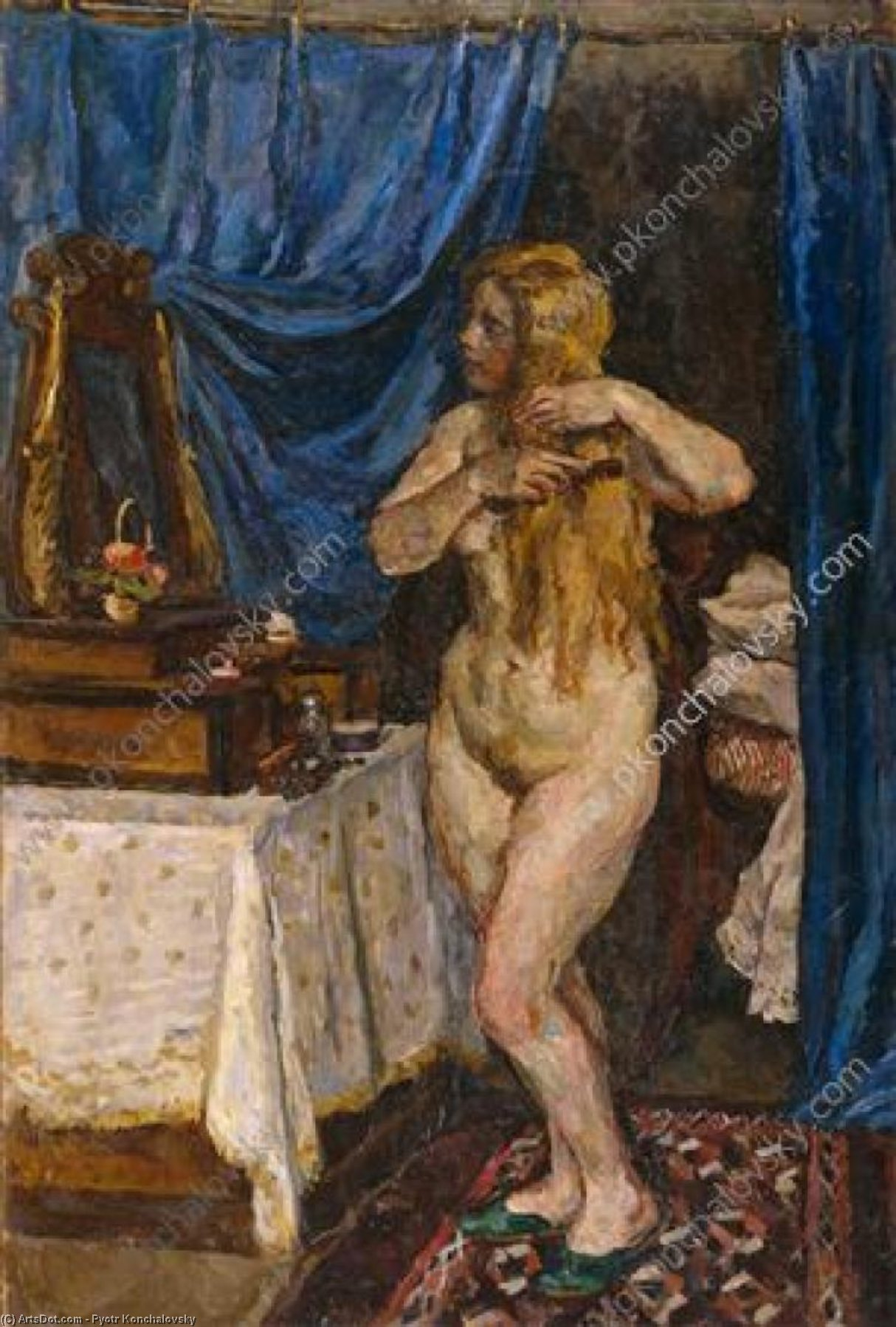 Model with red hair in the mirror, 1923 by Pyotr Konchalovsky (1876-1956, Russia)