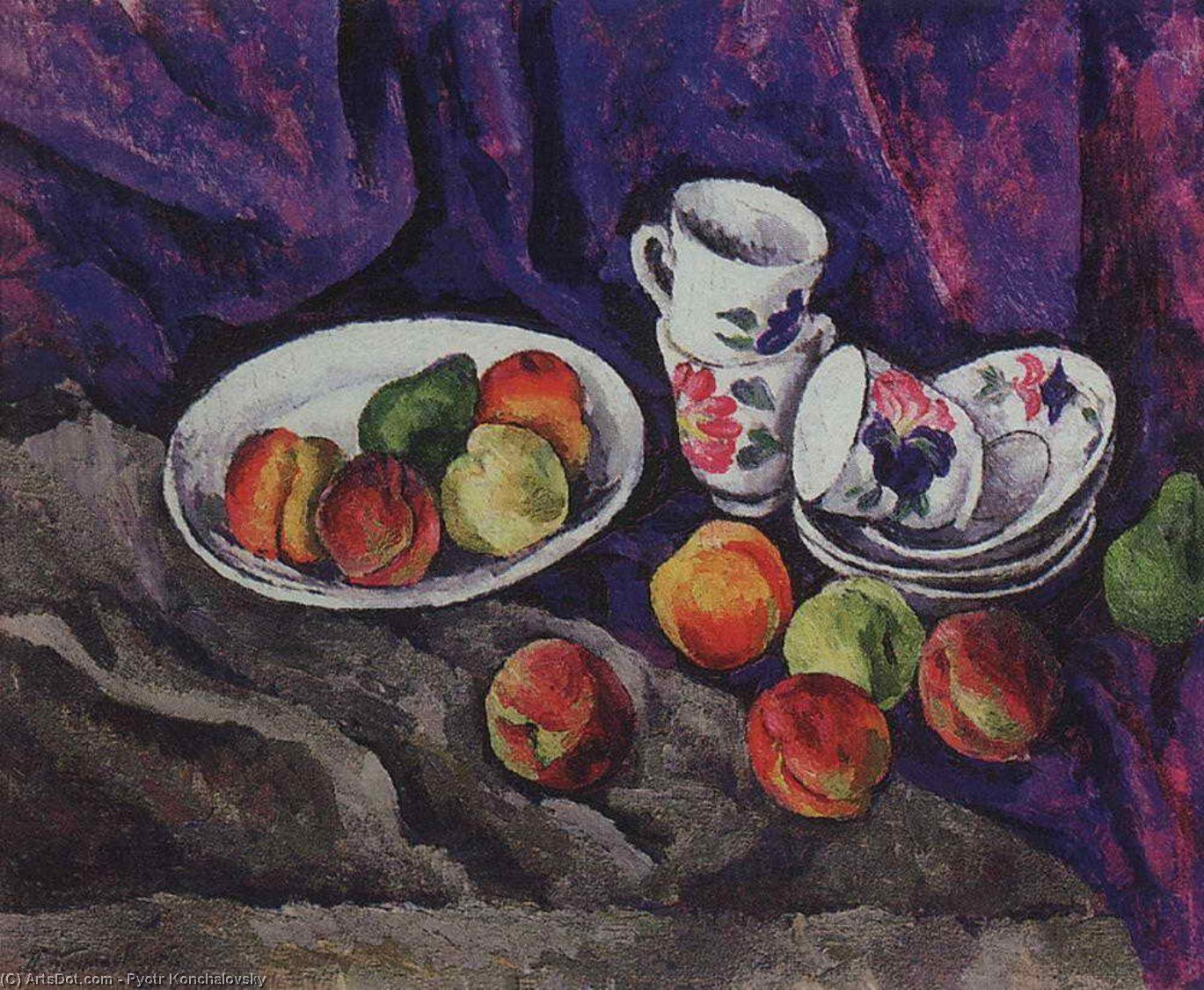 Still Life. Peaches., 1916 by Pyotr Konchalovsky (1876-1956, Russia)