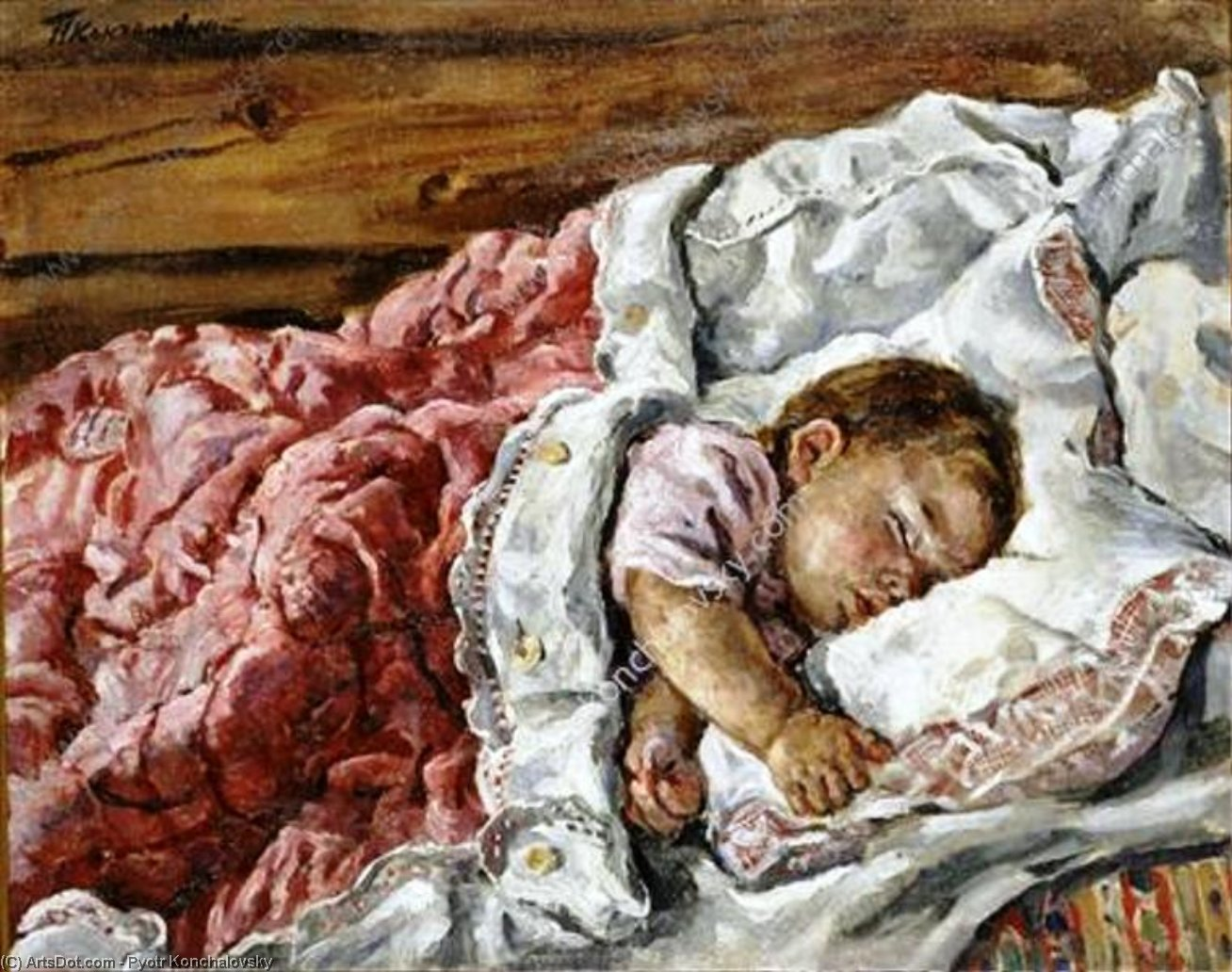 Katya sleeping (on the left side), 1932 by Pyotr Konchalovsky (1876-1956, Russia) | Museum Art Reproductions | ArtsDot.com