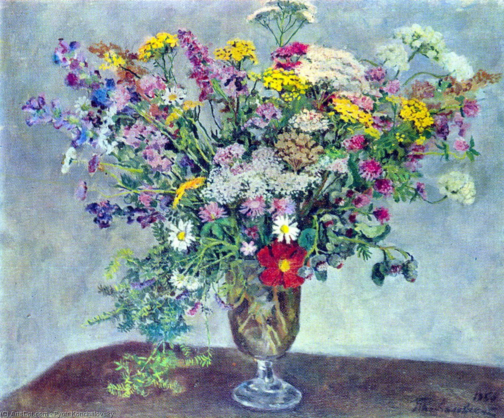 Still Life. Wildflowers., 1950 by Pyotr Konchalovsky (1876-1956, Russia)