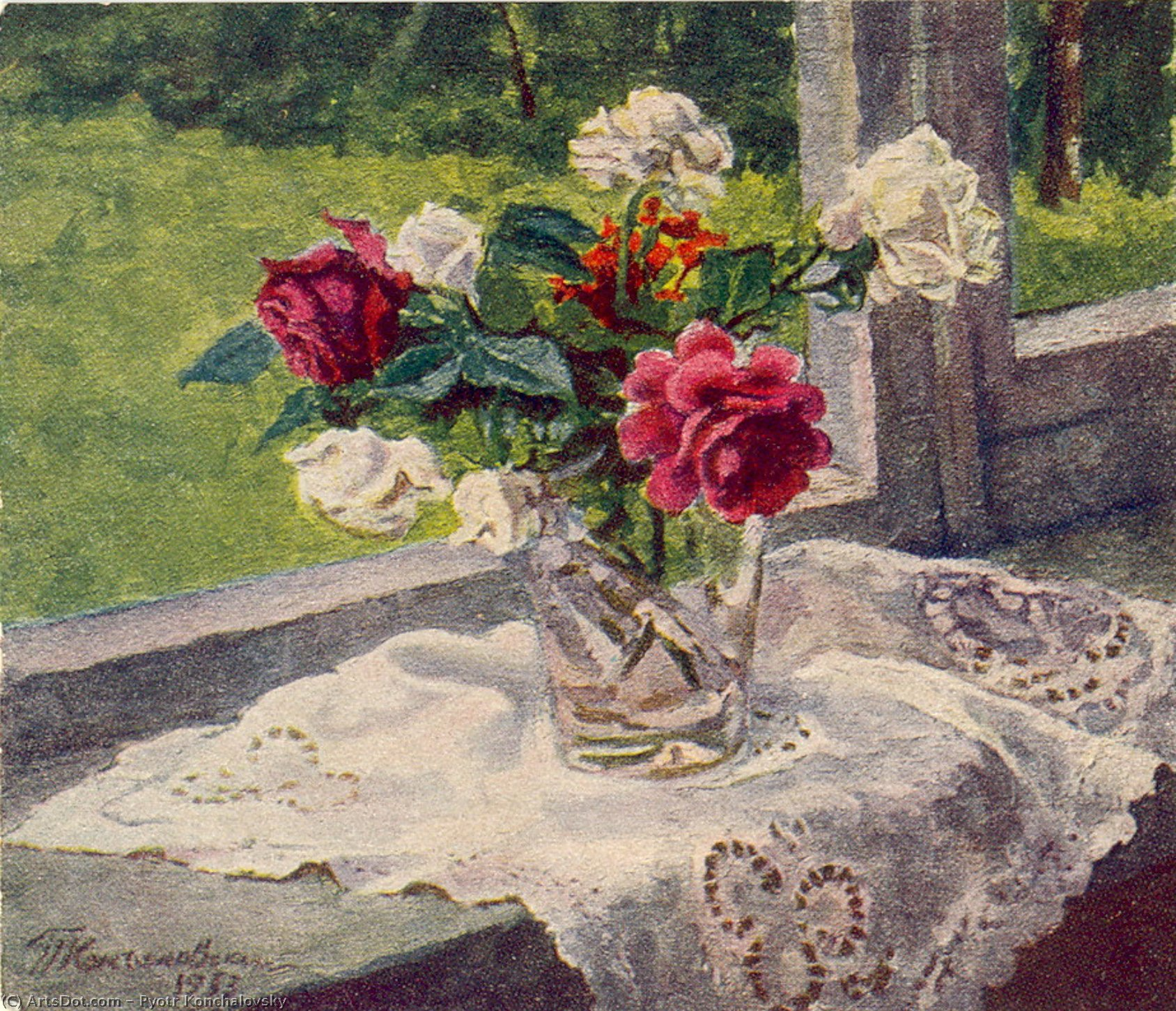 The roses by the window, 1953 by Pyotr Konchalovsky (1876-1956, Russia)