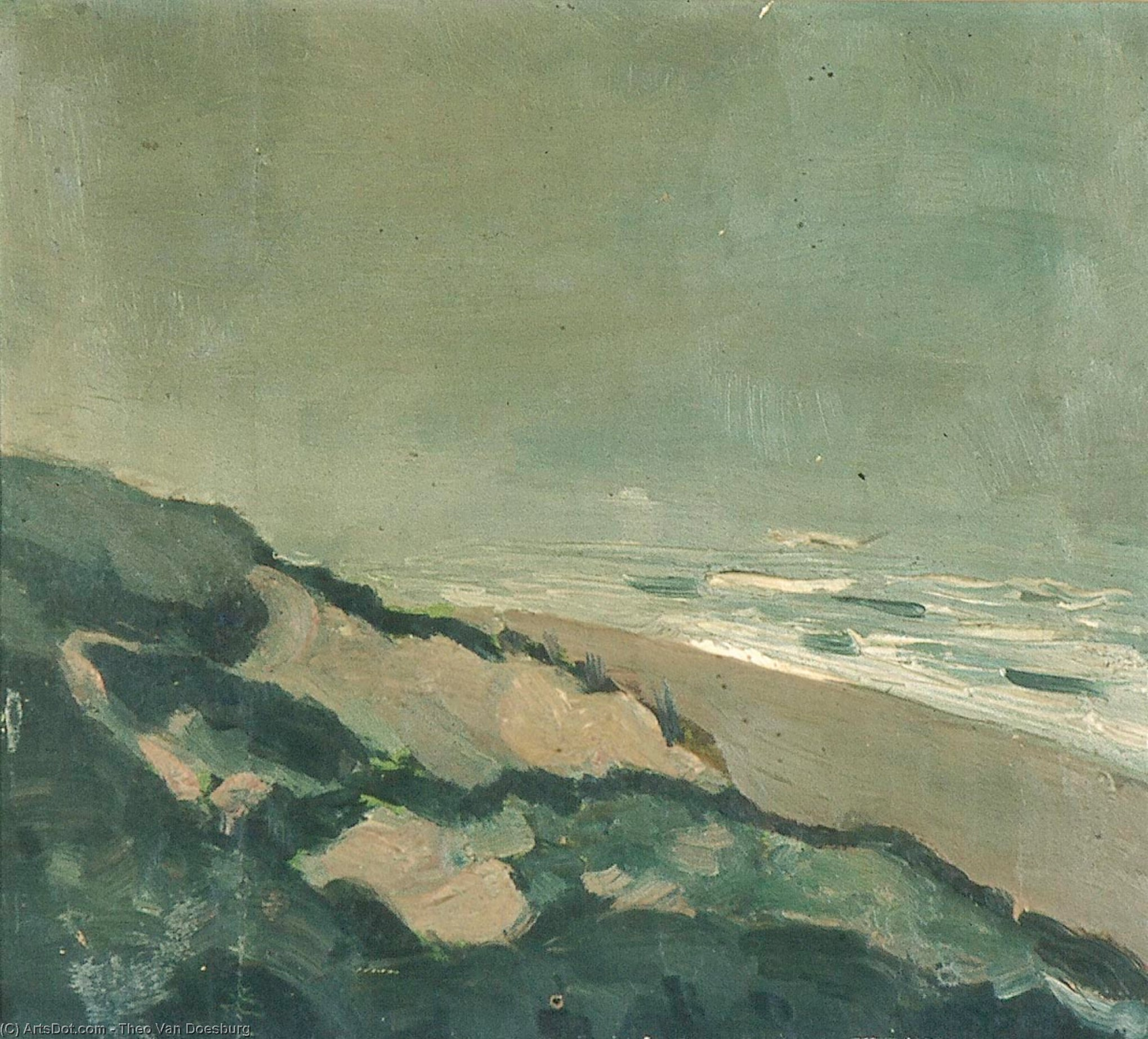Dunes and sea, Oil On Canvas by Theo Van Doesburg (1883-1931, Netherlands)