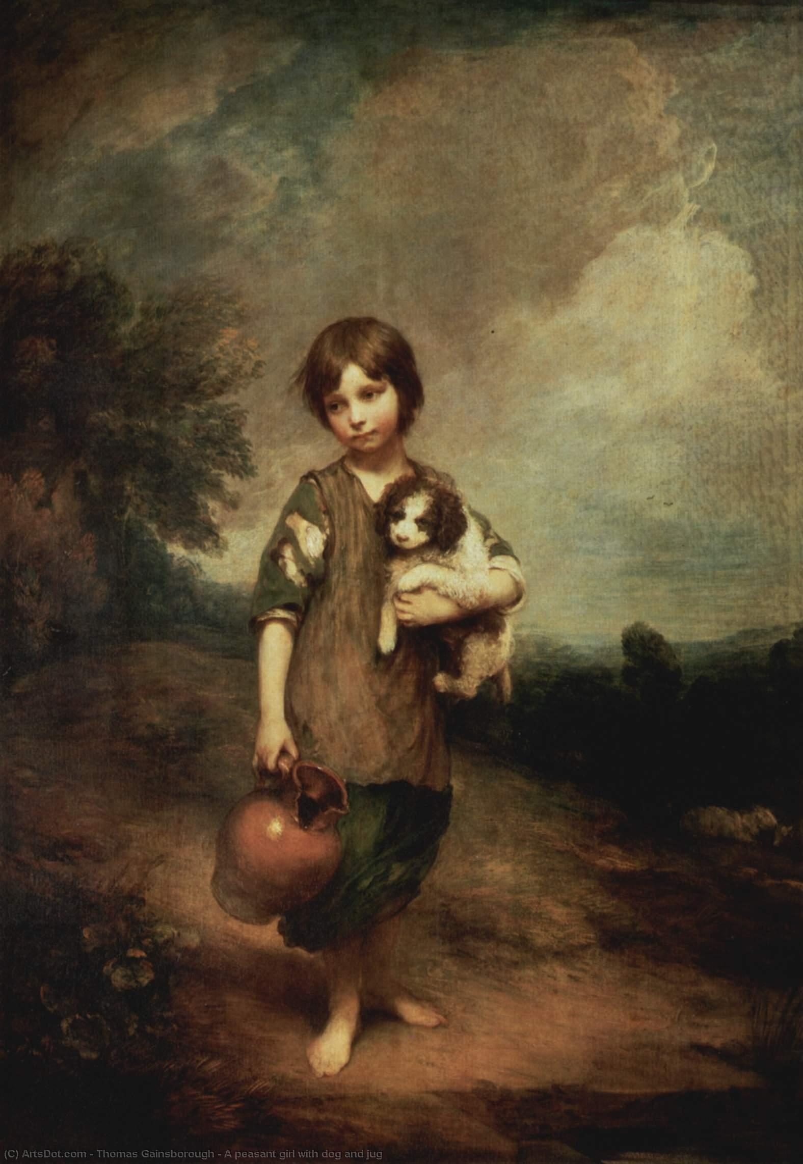 Order Museum Quality Reproductions : A peasant girl with dog and jug, 1785 by Thomas Gainsborough (1727-1788, United Kingdom) | ArtsDot.com