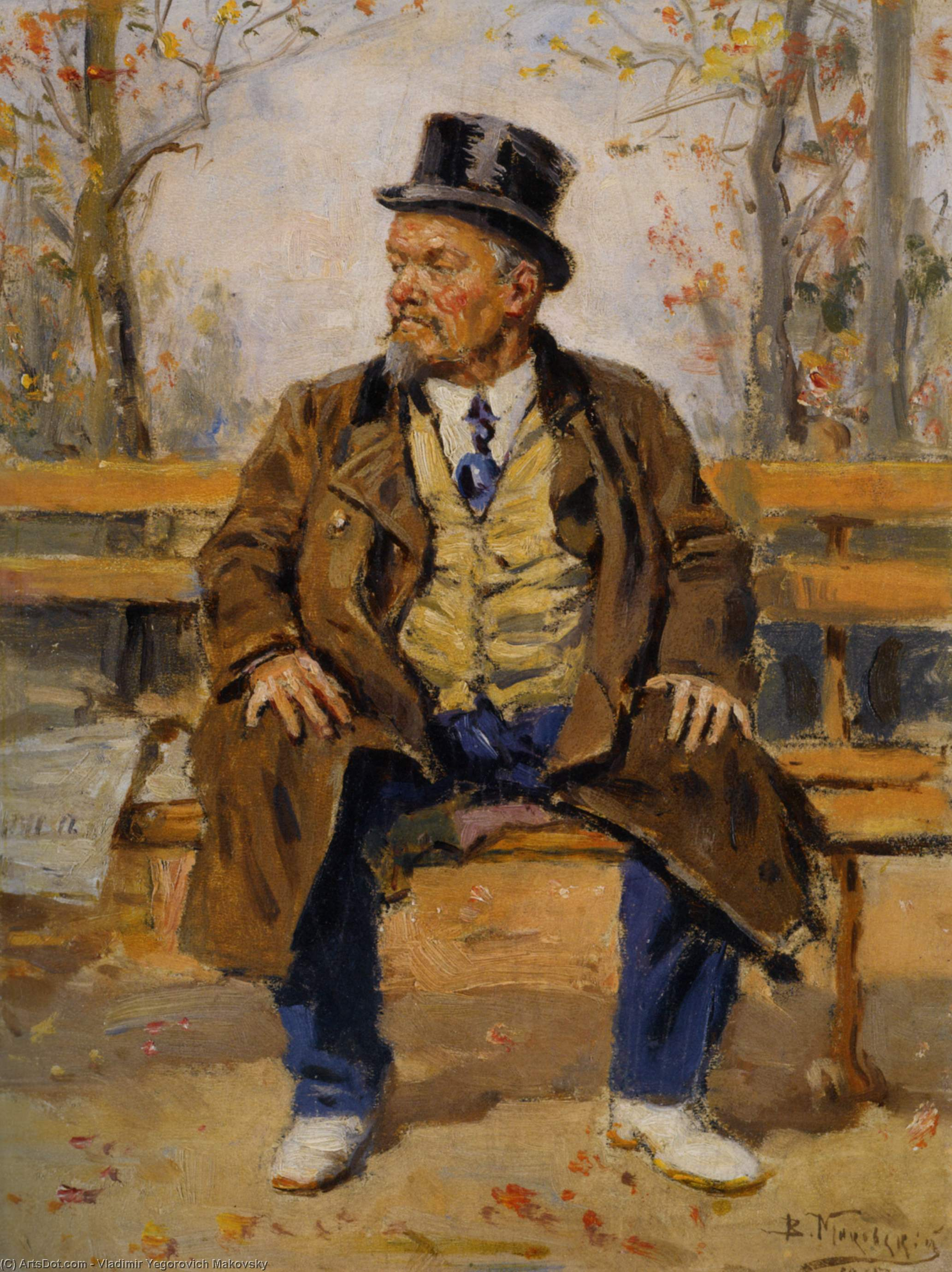 Portrait of a man sitting on a park bench, 1917 by Vladimir Yegorovich Makovsky (1846-1920, Russia) | Art Reproduction | ArtsDot.com