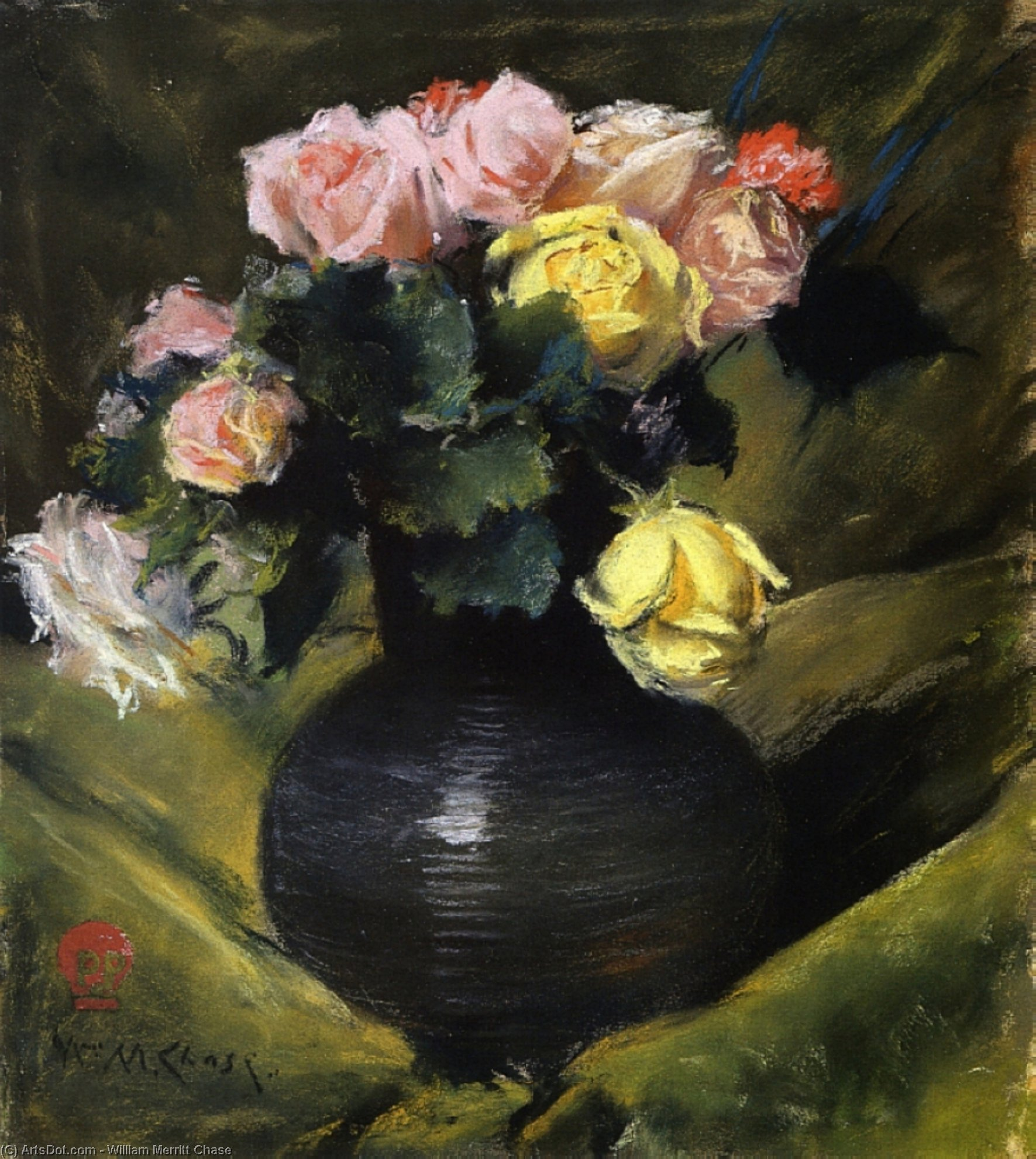 Flowers (aka Roses), Pastel by William Merritt Chase (1849-1916, United States)