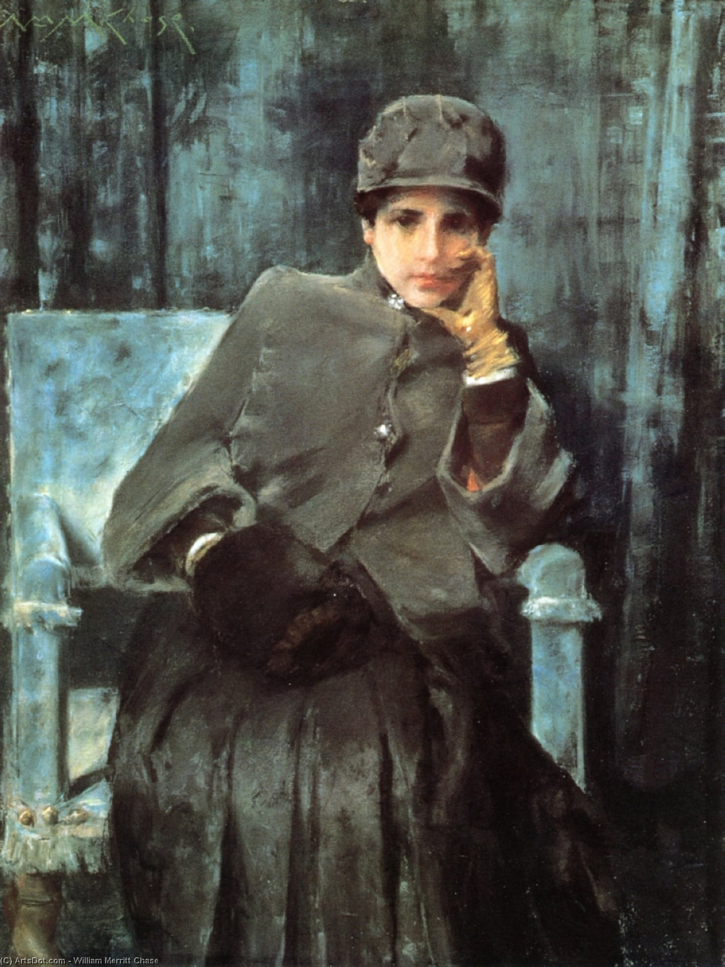 Meditation (aka Portrait of the Artist's Wife), 1886 by William Merritt Chase (1849-1916, United States) | ArtsDot.com