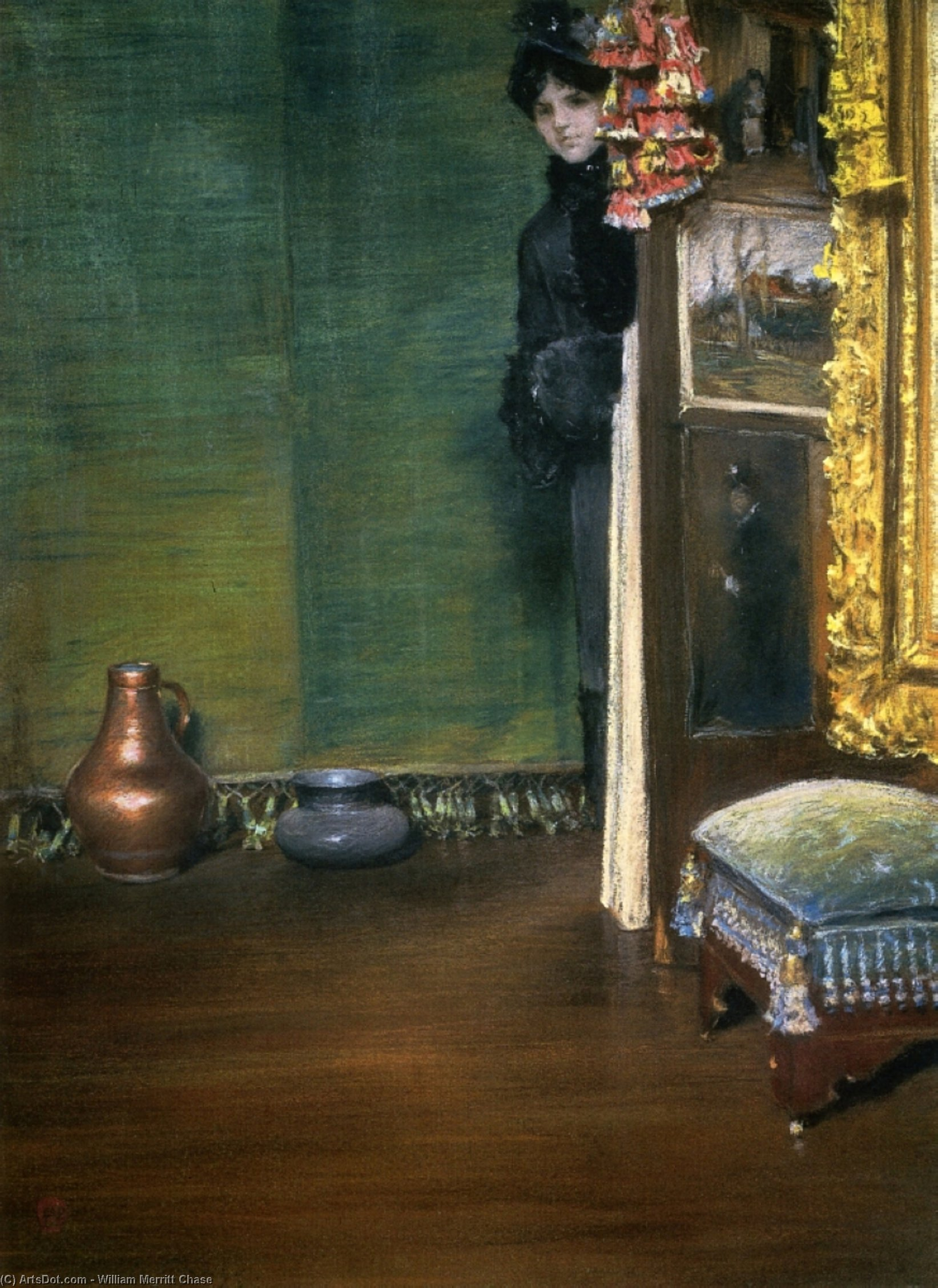 May I Come In, Pastel by William Merritt Chase (1849-1916, United States)