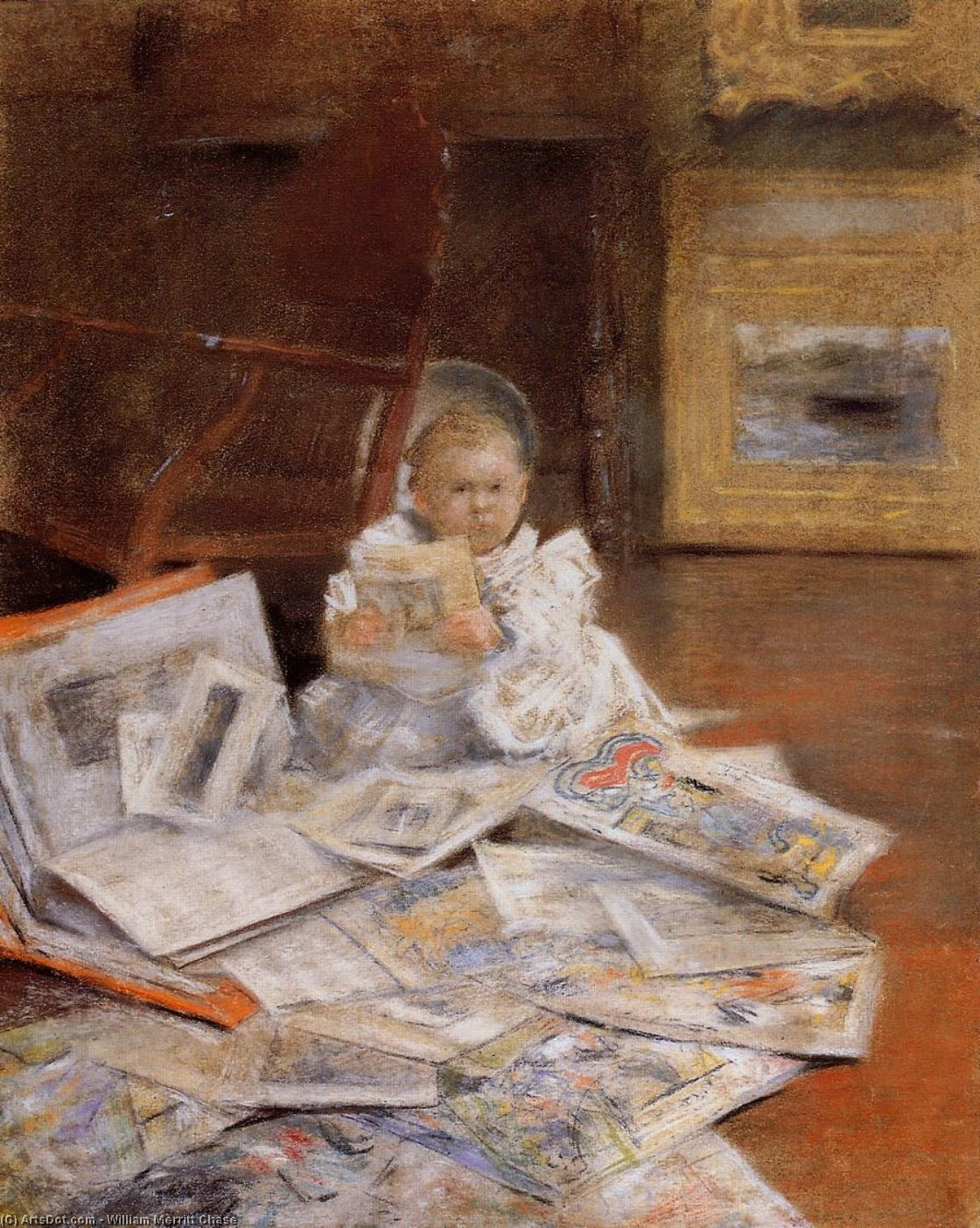Child with Prints, Pastel by William Merritt Chase (1849-1916, United States)