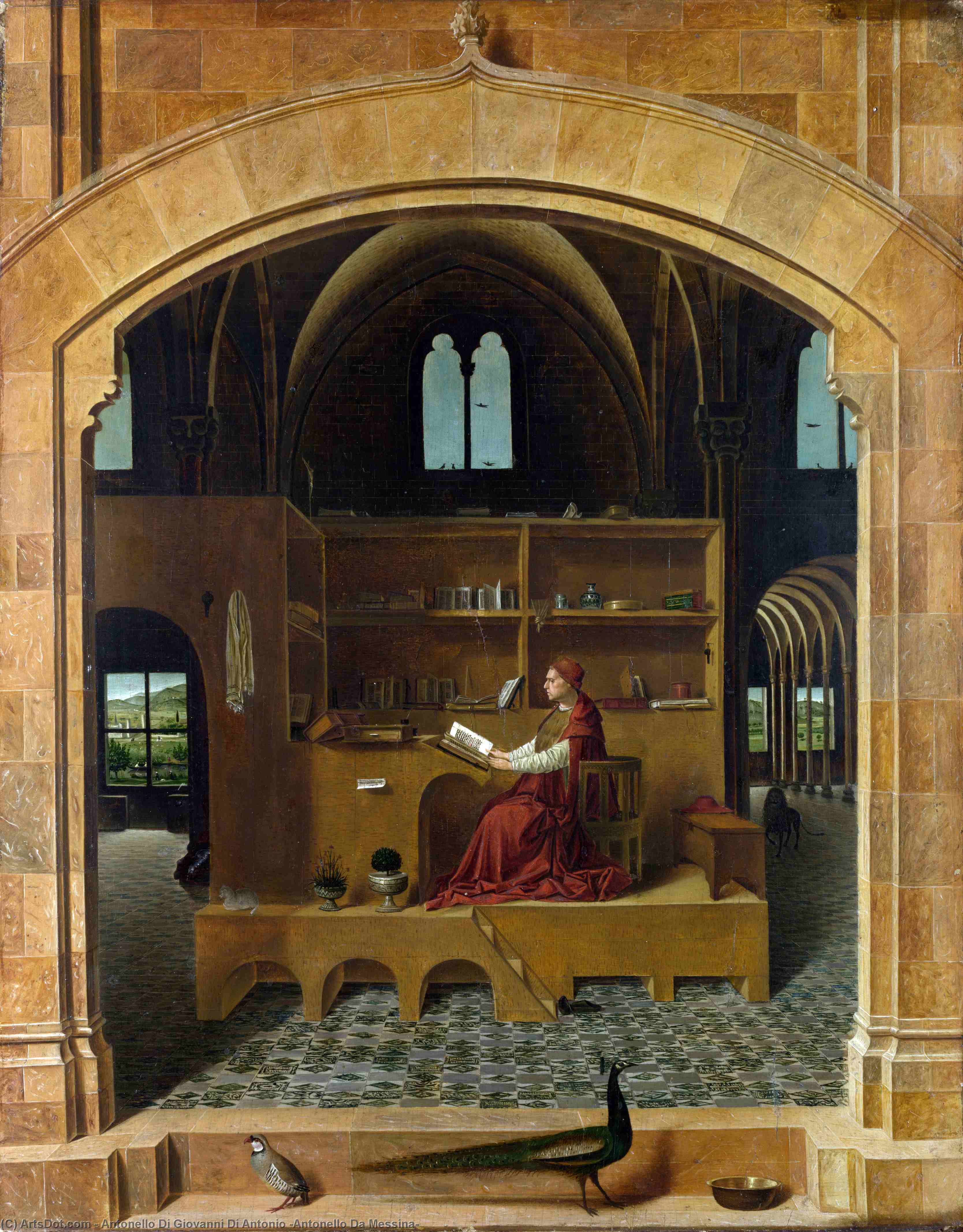 Order Art Reproduction : St Jerome in his Study, 1460 by Antonello Di Giovanni Di Antonio (Antonello Da Messina) (1430-1479, Italy) | ArtsDot.com
