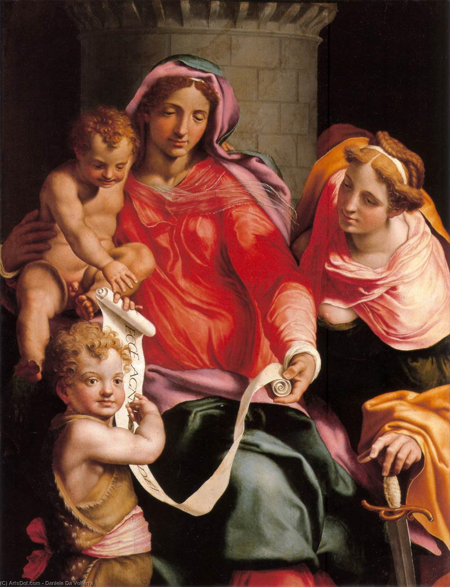 Madonna with Child, Sts Giovannino and Barbara, Oil On Canvas by Daniele Da Volterra (1509-1566, Italy)