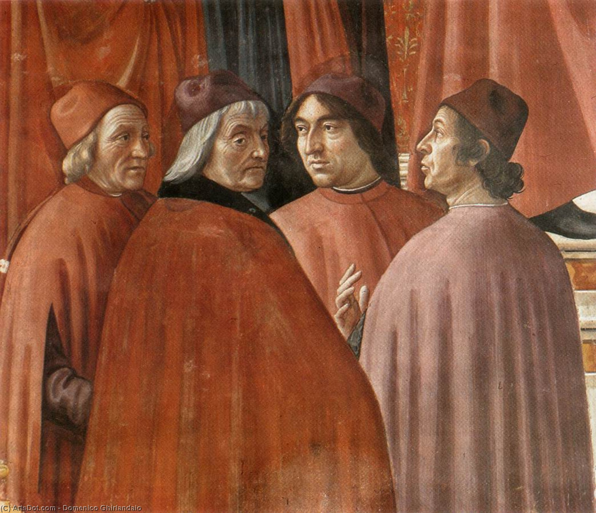 Angel Appearing to Zacharias (detail), Frescoes by Domenico Ghirlandaio (1449-1494, Italy)