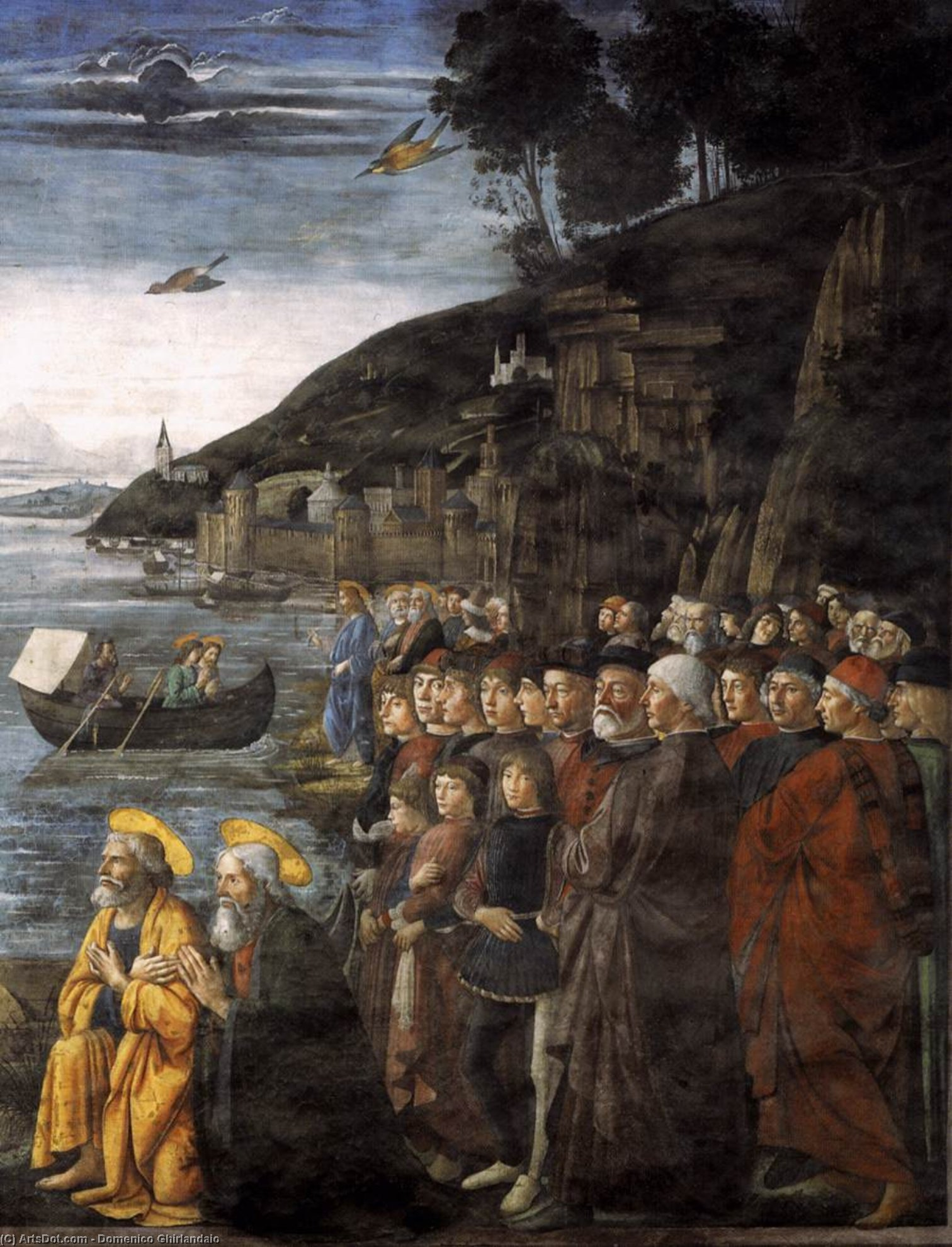 Calling of the Apostles (detail), 1481 by Domenico Ghirlandaio (1449-1494, Italy) | Museum Quality Reproductions | ArtsDot.com