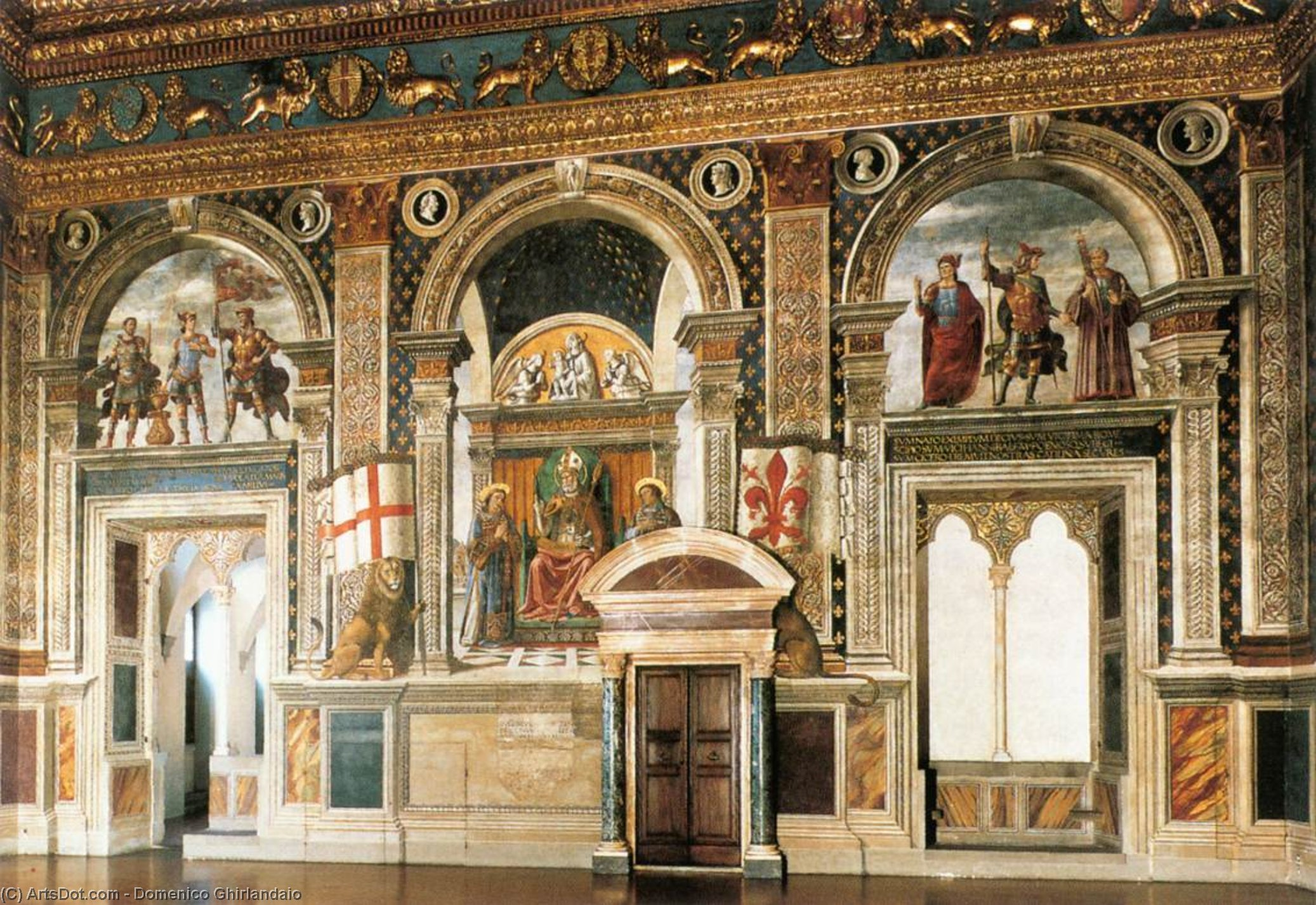 Decoration of the Sala del Gigli, Frescoes by Domenico Ghirlandaio (1449-1494, Italy)