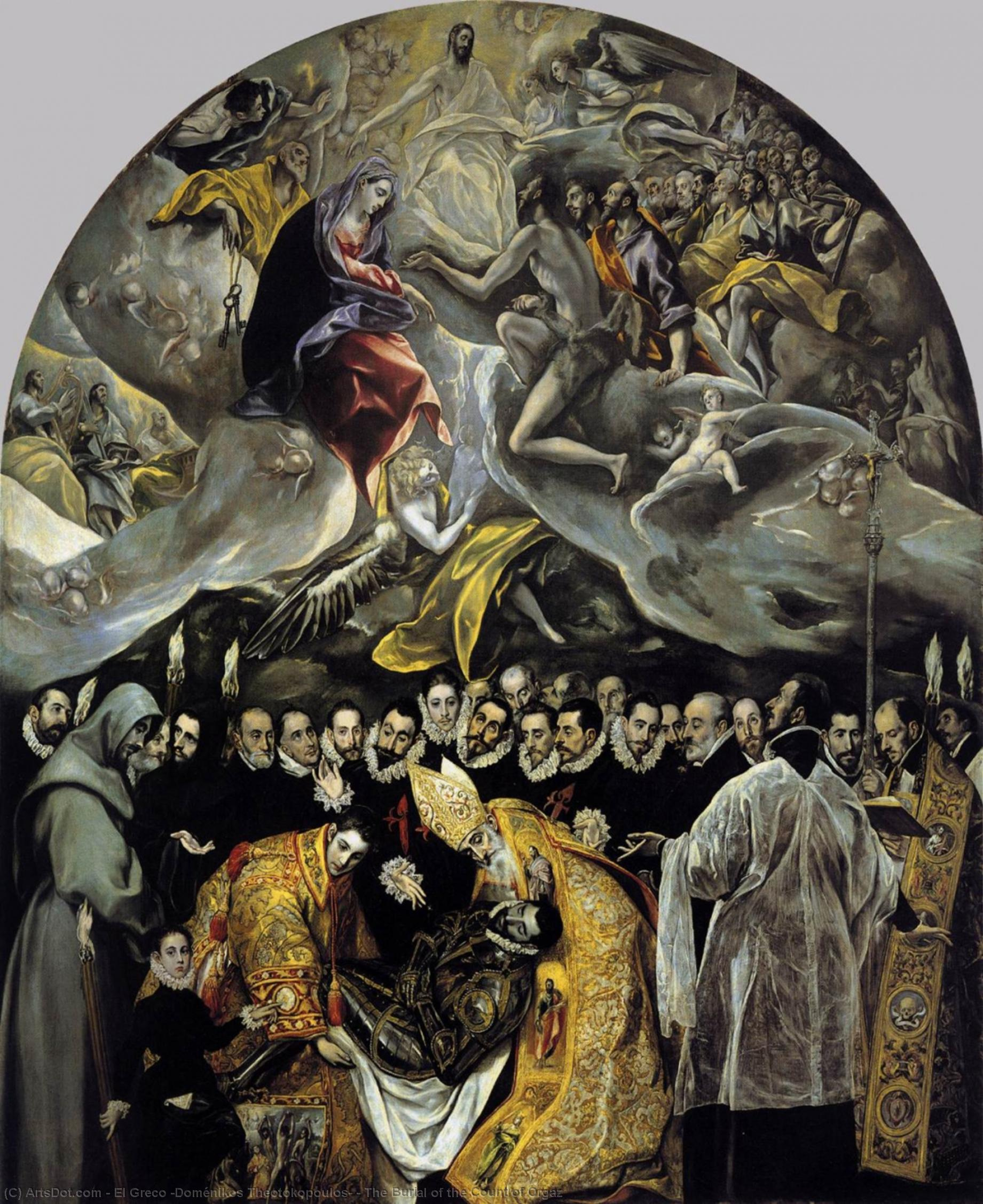 The Burial of the Count of Orgaz, 1586 by El Greco (Doménikos Theotokopoulos) (1541-1614, Greece) | Reproductions El Greco (Doménikos Theotokopoulos) | ArtsDot.com