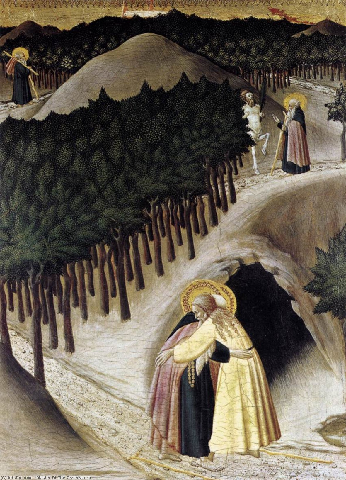 St Anthony Goes in Search of St Paul the Hermit, 1440 by Master Of The Osservanza | Museum Art Reproductions | ArtsDot.com