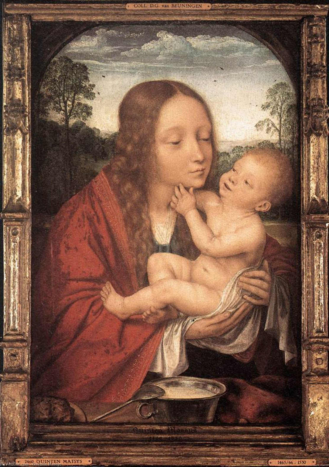 Virgin and Child in a Landscape, Wood by Quentin Massys (1466-1530, Belgium)