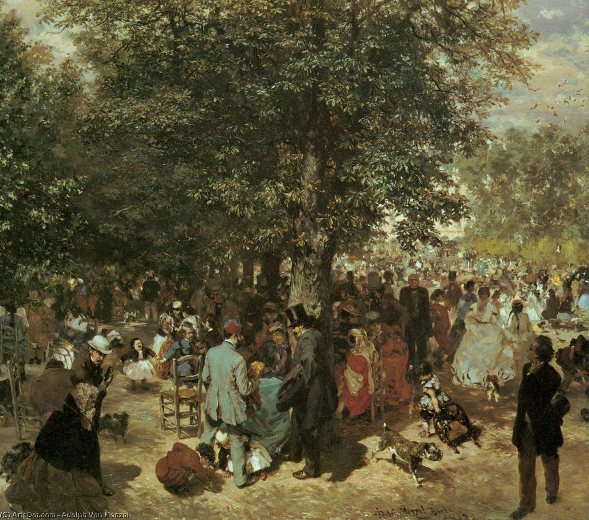Afternoon at the Tuileries Garden, Oil On Canvas by Adolph Menzel (1815-1905, Poland)