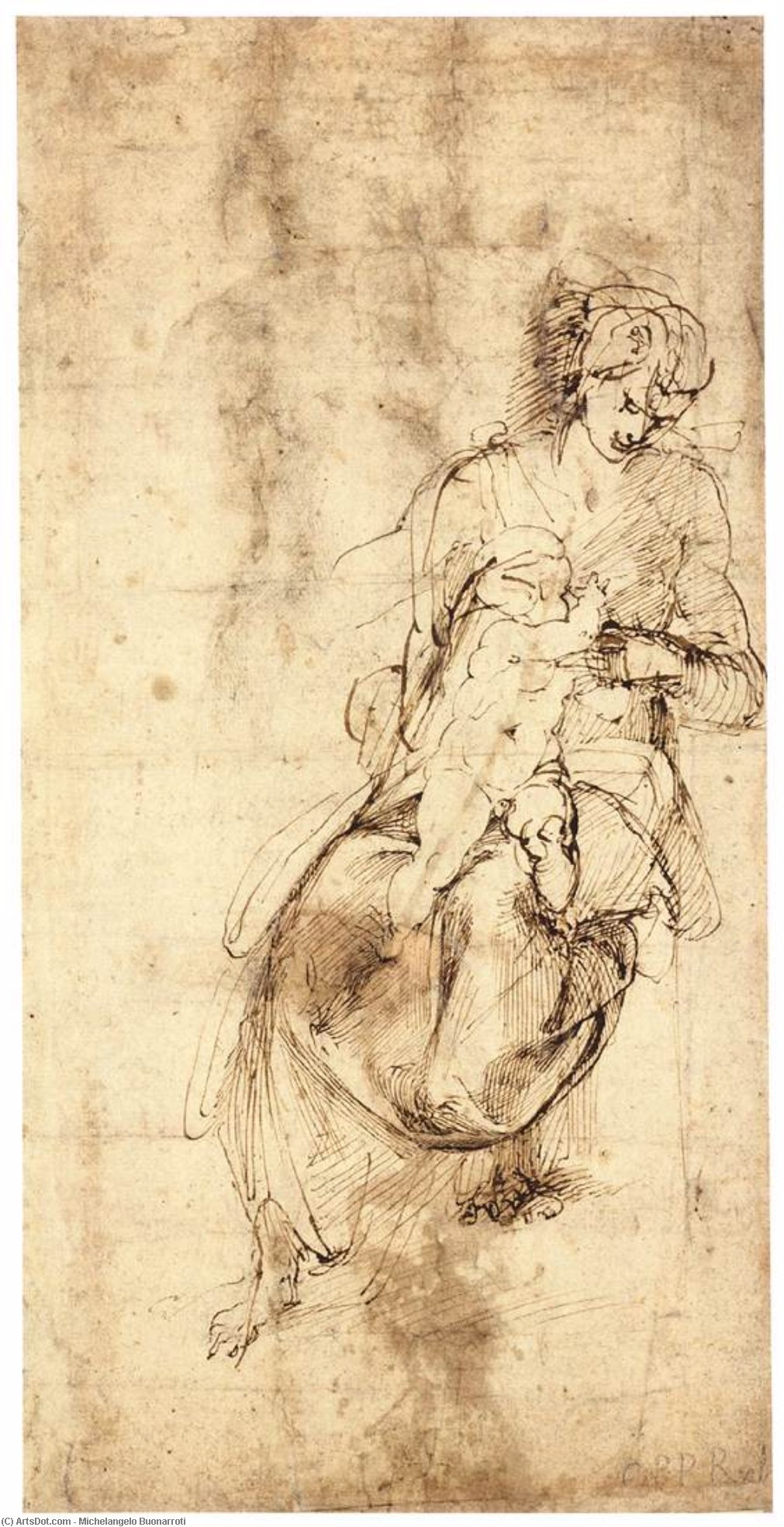 michelangelo drawing madonna and child 1525 - HD1011×1968