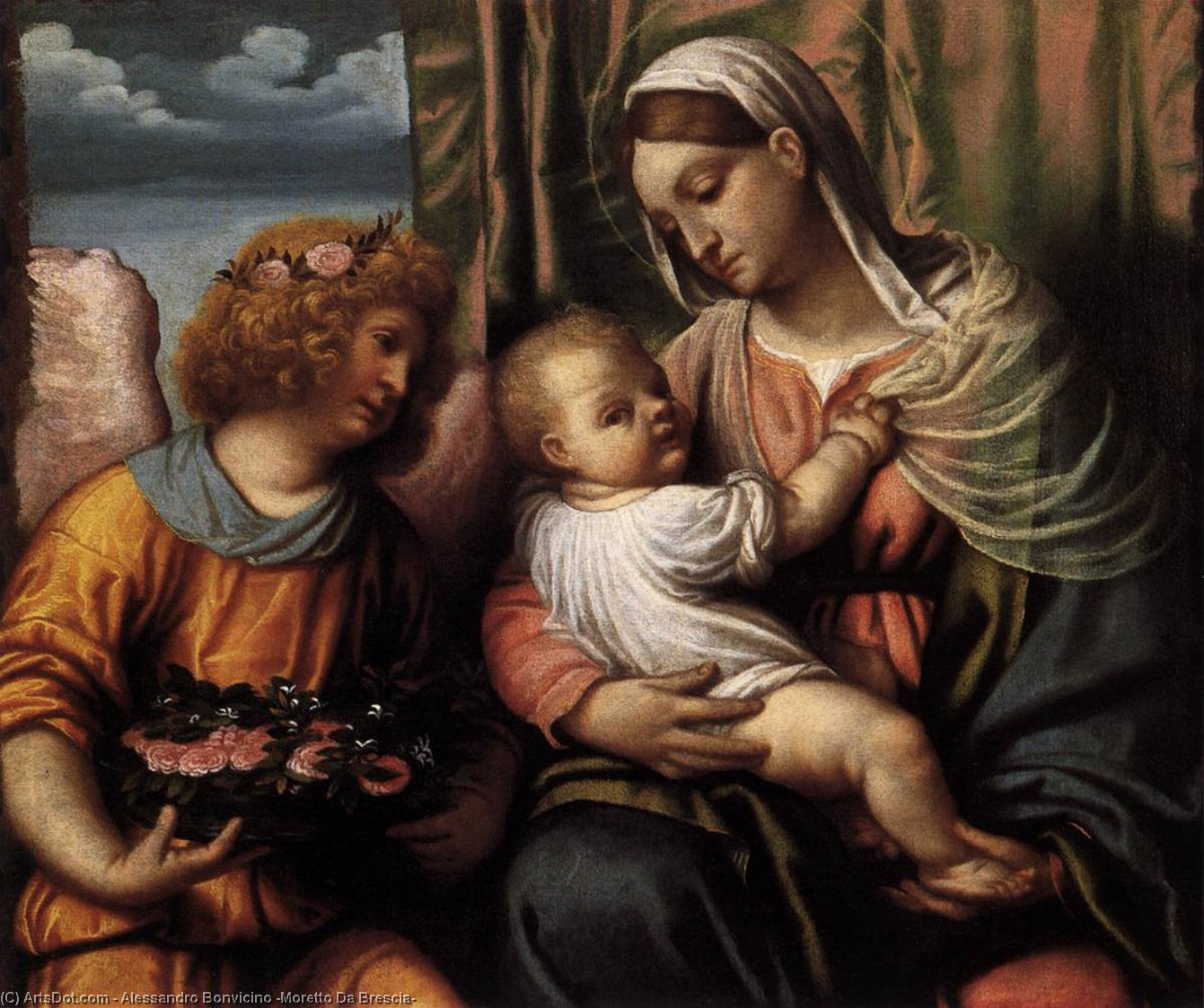 Virgin and Child, Oil On Canvas by Alessandro Bonvicino (Moretto Da Brescia) (1498-1554, Italy)