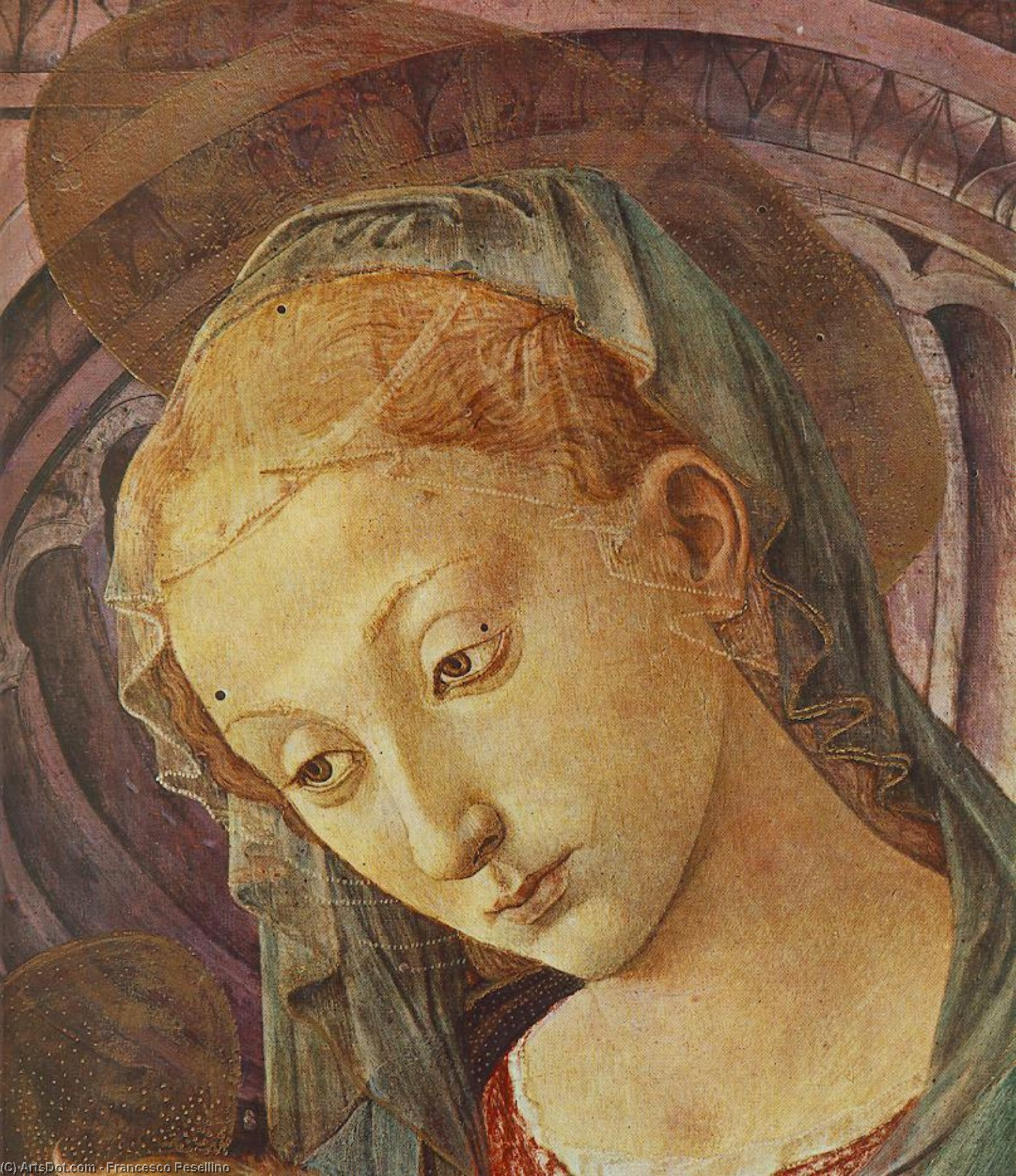 Madonna with Child (detail), 1450 by Francesco Di Stefano Pesellino (1422-1457) | Museum Art Reproductions | ArtsDot.com