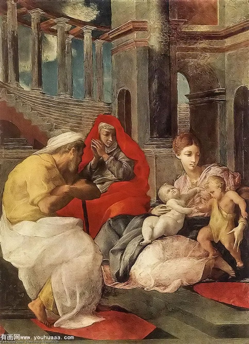 The Holy Family with Sts Elisabeth and John the Baptist, Oil by Francesco Primaticcio (1504-1570, Italy)