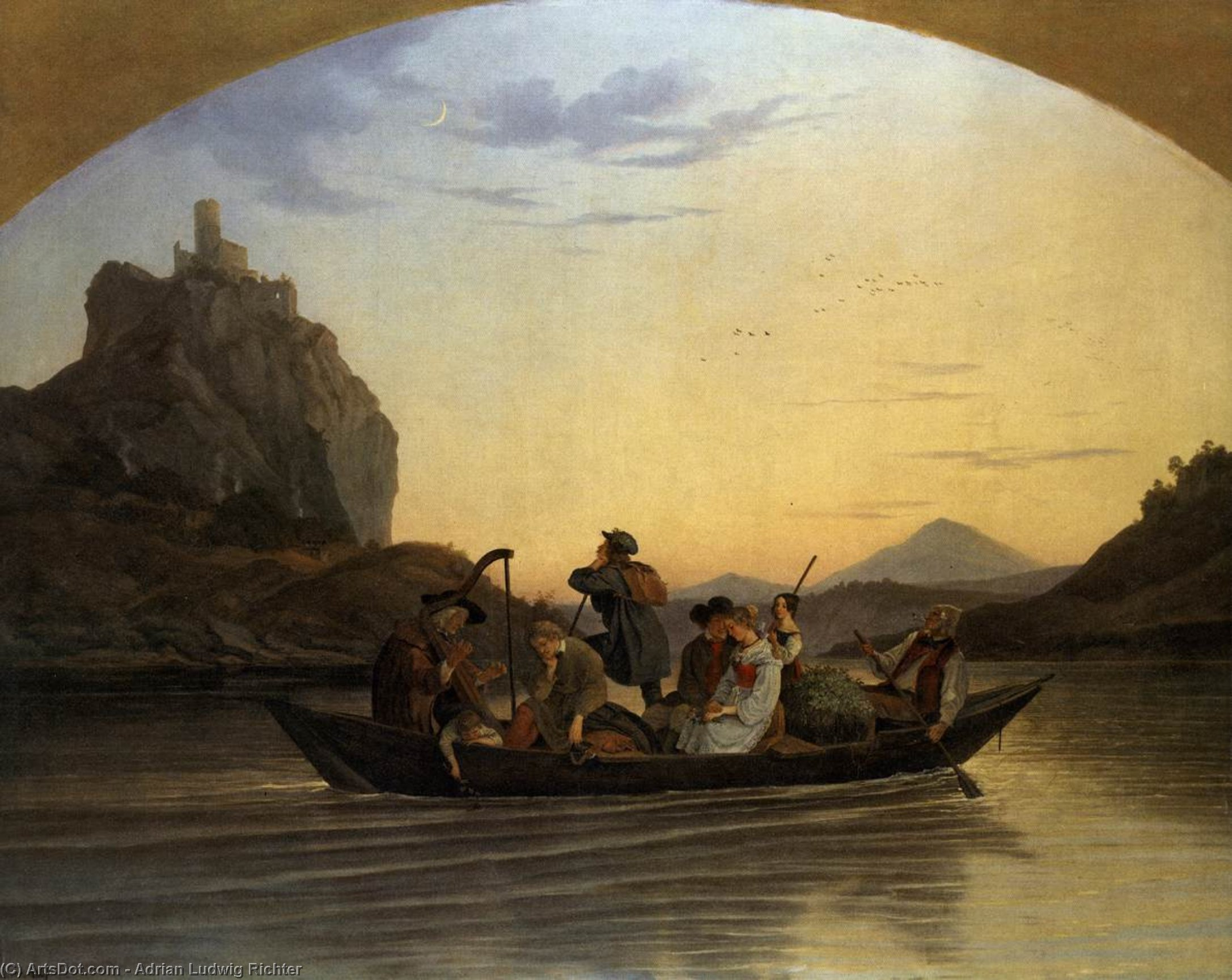 Crossing the Elbe at Aussig, Oil On Canvas by Adrian Ludwig Richter (1803-1884, Germany)