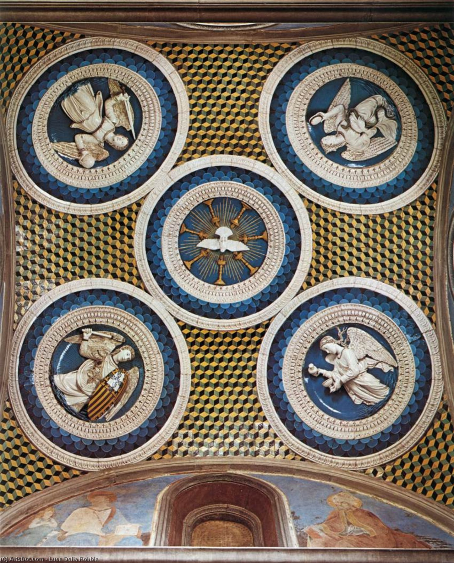Ceiling decoration, Terracotta by Luca Della Robbia (1399-1483, Italy)