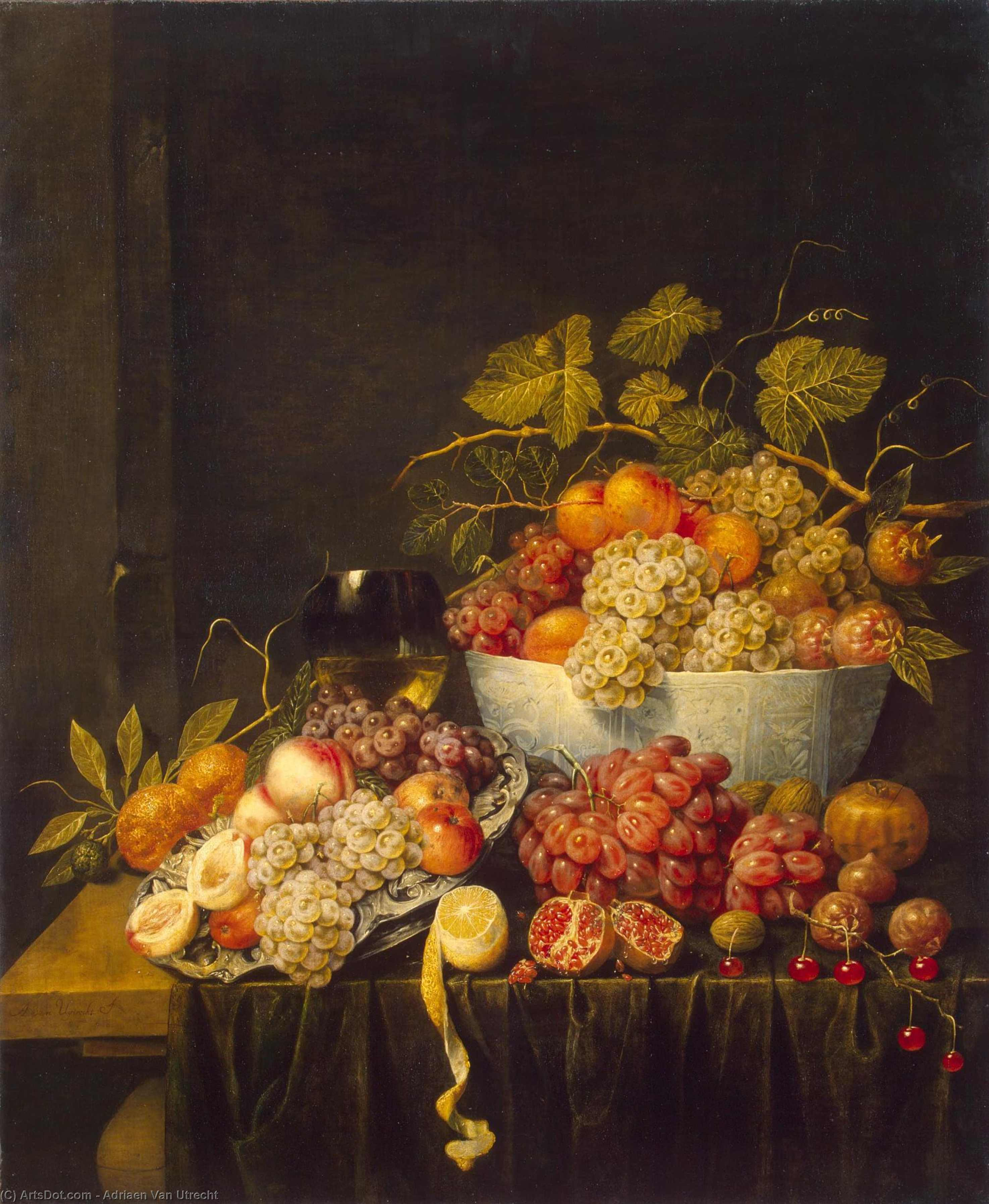 Still-Life with Grapes, Oil On Canvas by Adriaen Van Utrecht (1599-1652, Belgium)