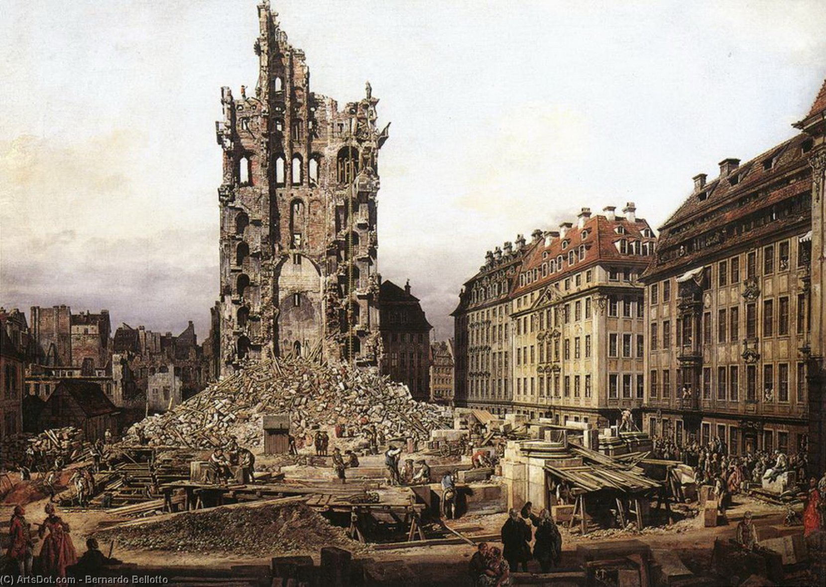 The Ruins of the Old Kreuzkirche in Dresden, 1765 by Bernardo Bellotto (1721-1780, Venetian Republic) | Museum Quality Reproductions | ArtsDot.com