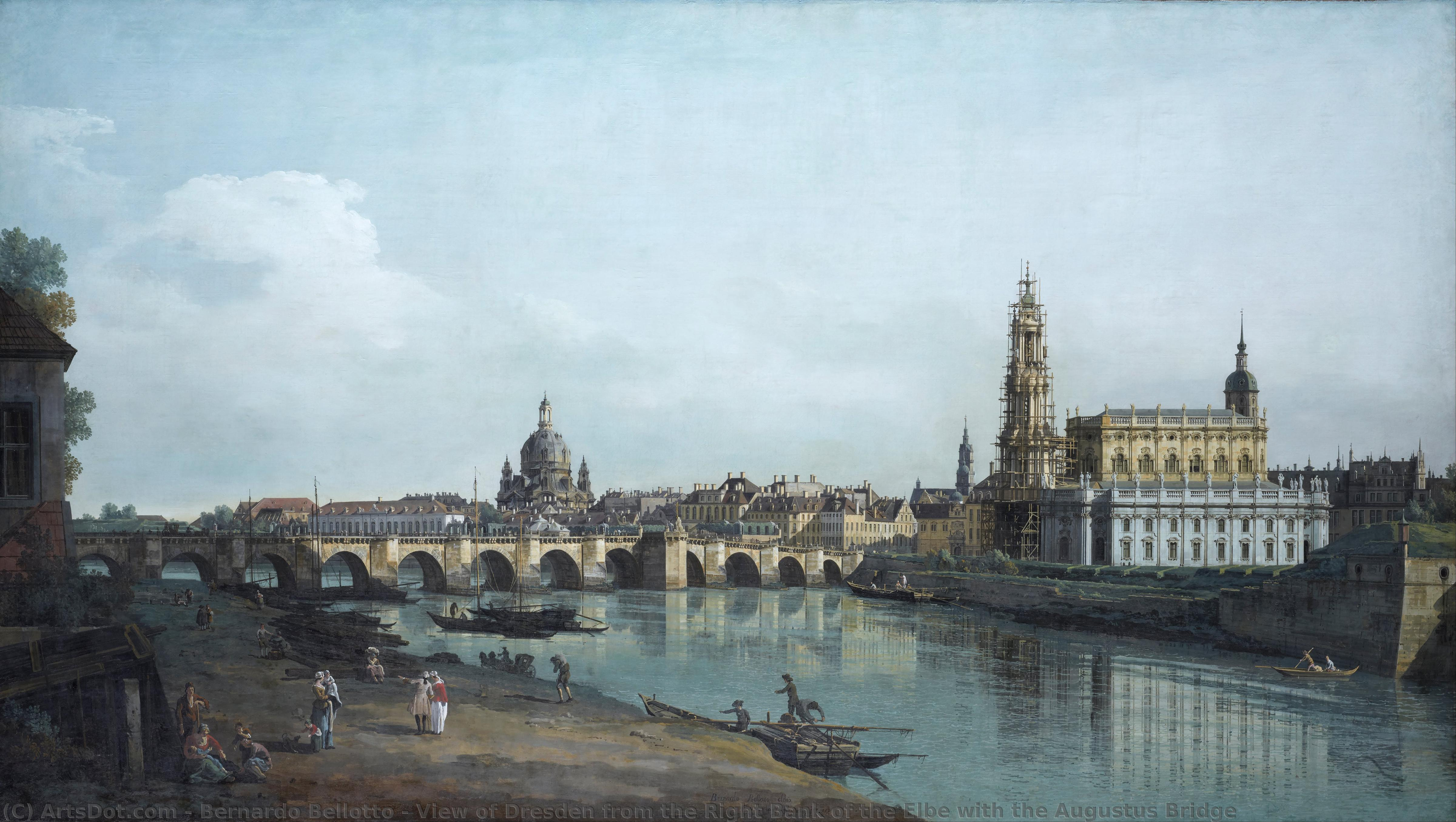 View of Dresden from the Right Bank of the Elbe with the Augustus Bridge, 1748 by Bernardo Bellotto (1721-1780, Italy) | Museum Art Reproductions Bernardo Bellotto | ArtsDot.com