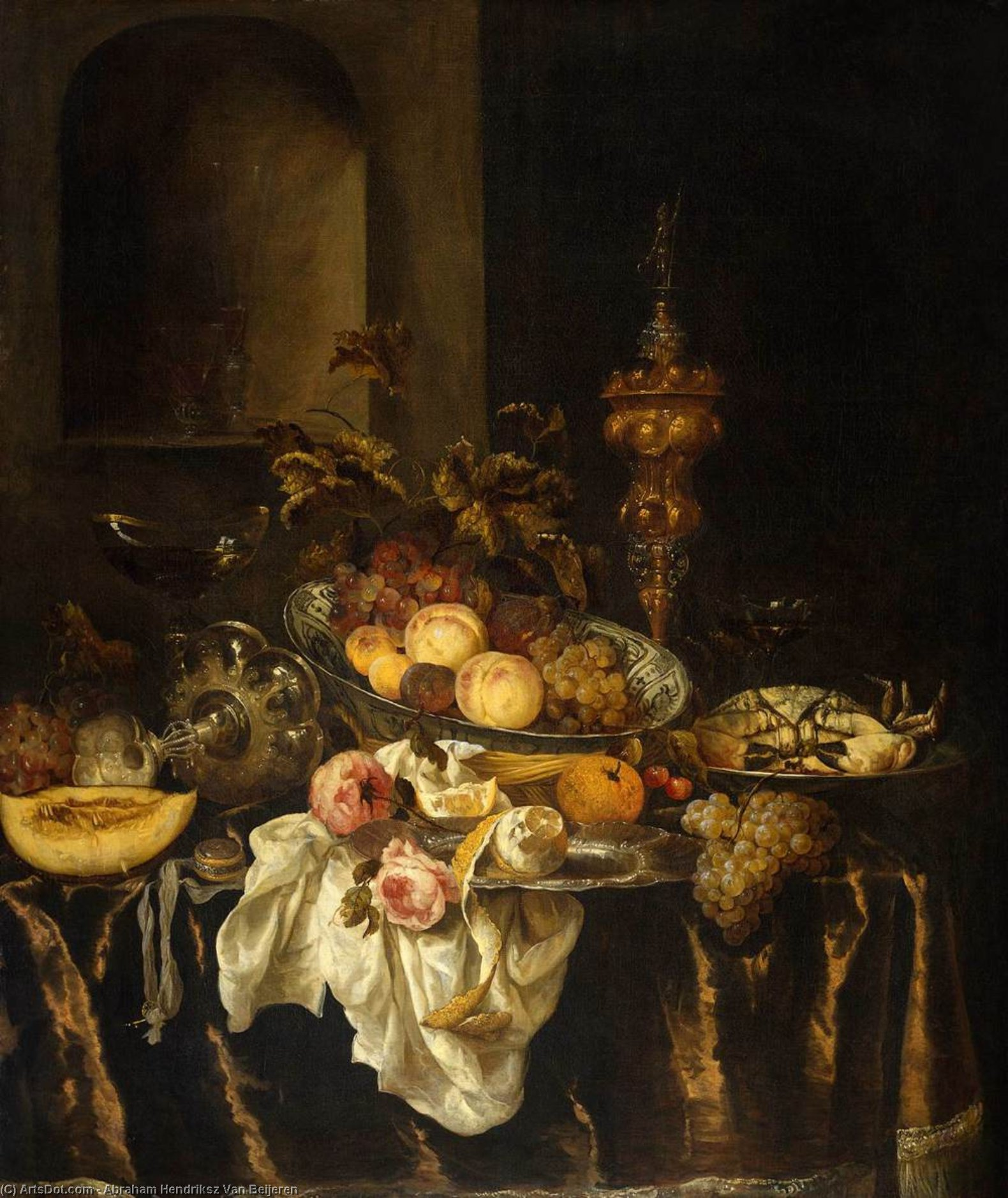 Still-Life, Oil On Canvas by Abraham Hendriksz Van Beijeren (1620-1690, Netherlands)