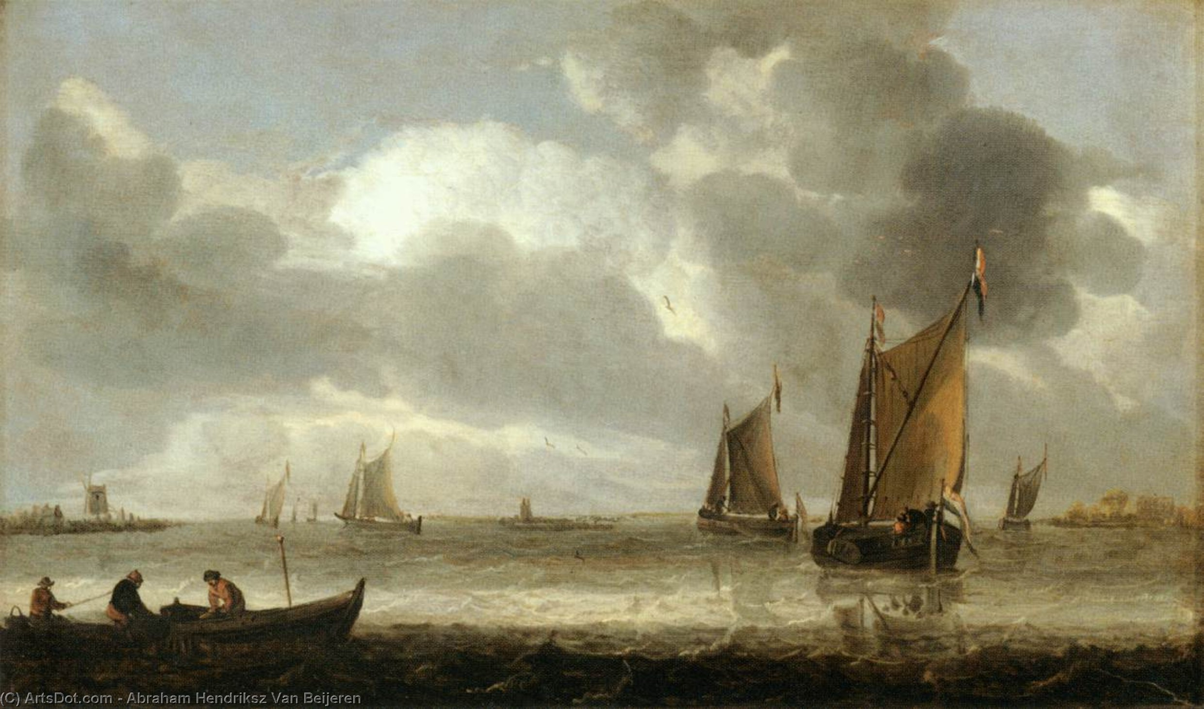 The Silver Seascape, Oil by Abraham Hendriksz Van Beijeren (1620-1690, Netherlands)