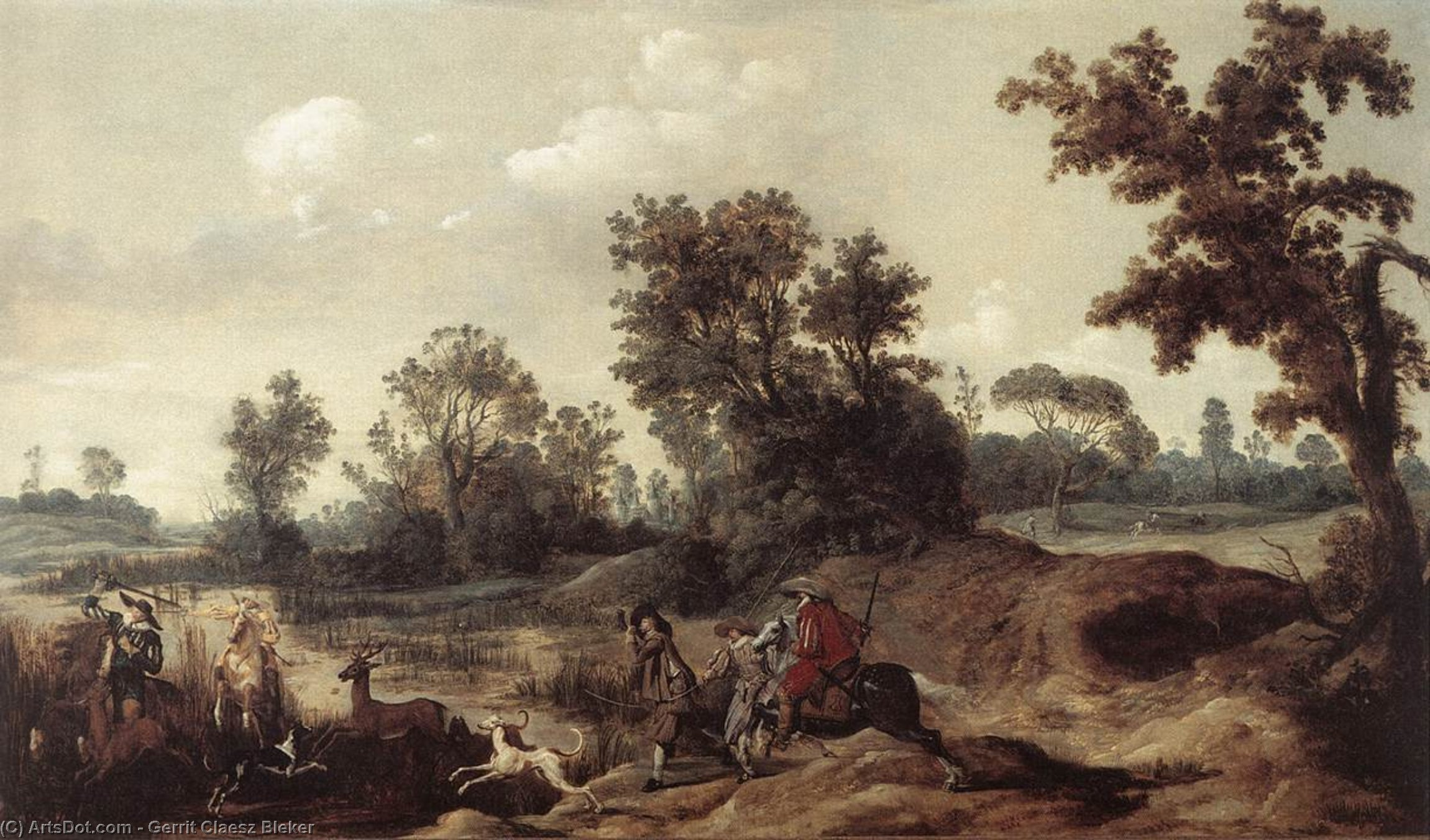 Stag Hunting in the Dunes, 1625 by Gerrit Claesz Bleker (1593-1656, Netherlands) | Museum Art Reproductions | ArtsDot.com