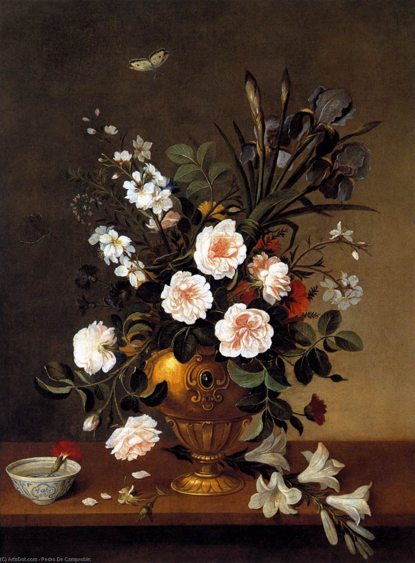 Vase of Flowers, Oil On Canvas by Pedro De Camprobín (1605-1674, Spain)