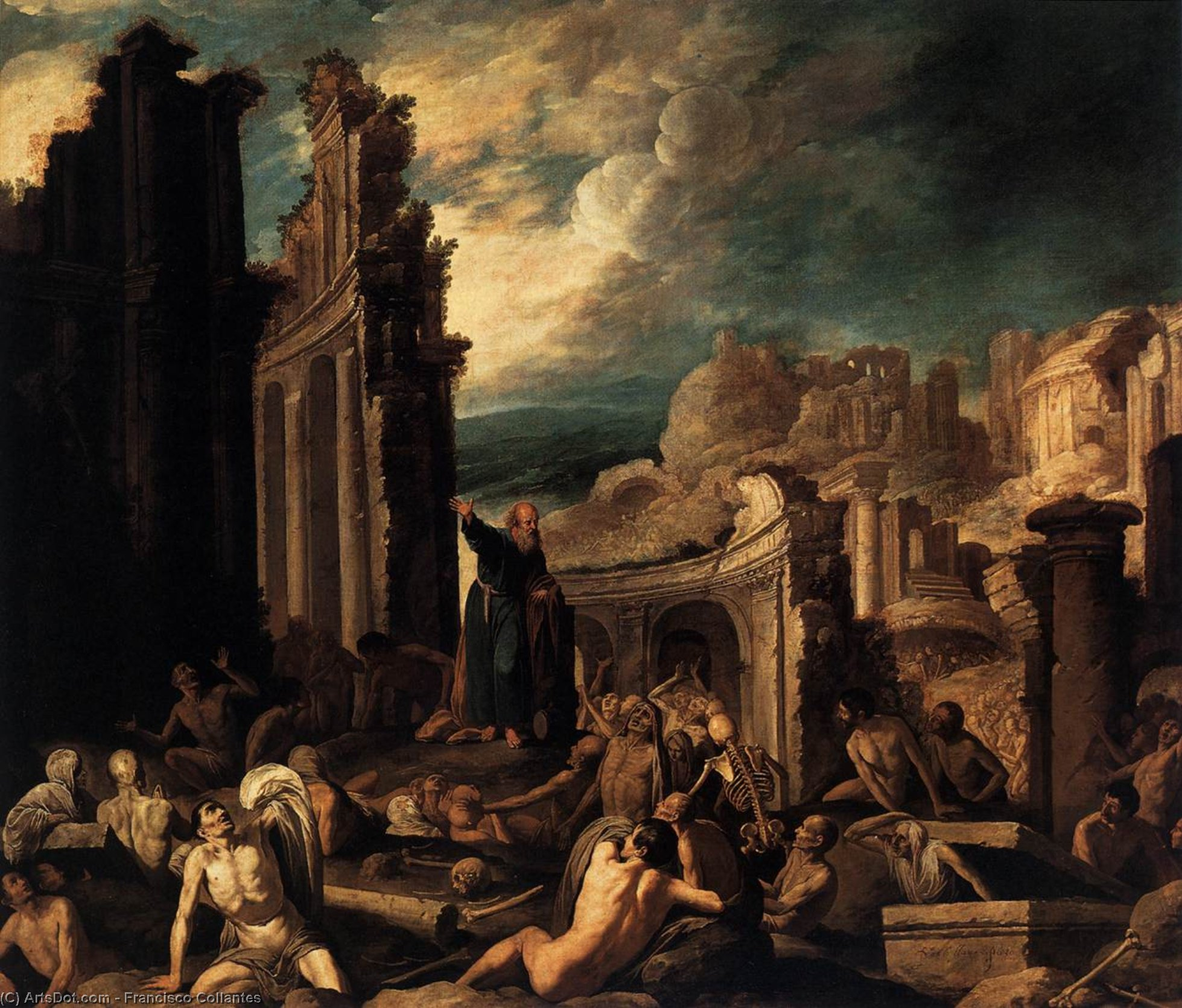 The Vision of Ezekiel, Oil On Canvas by Francisco Collantes (1599-1656, Spain)