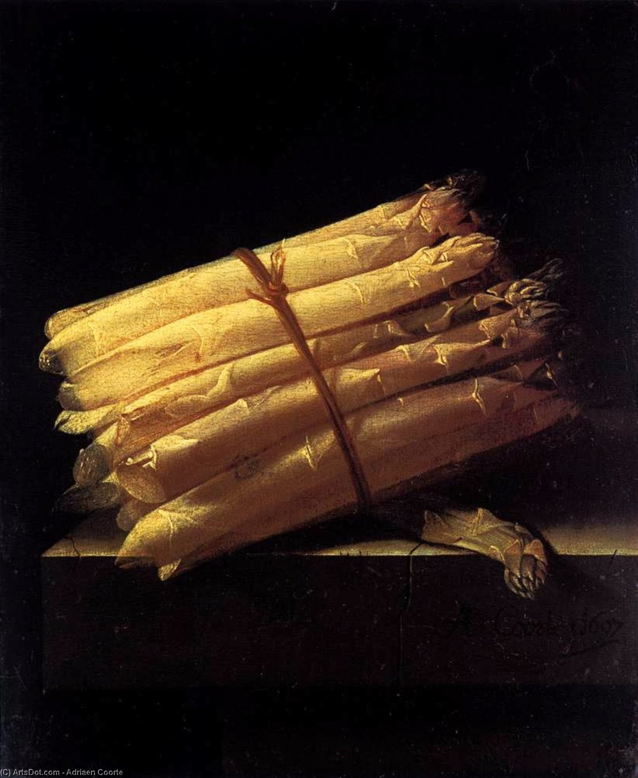 Still-Life with Asparagus, Oil On Panel by Adriaen Coorte (1665-1707, Netherlands)