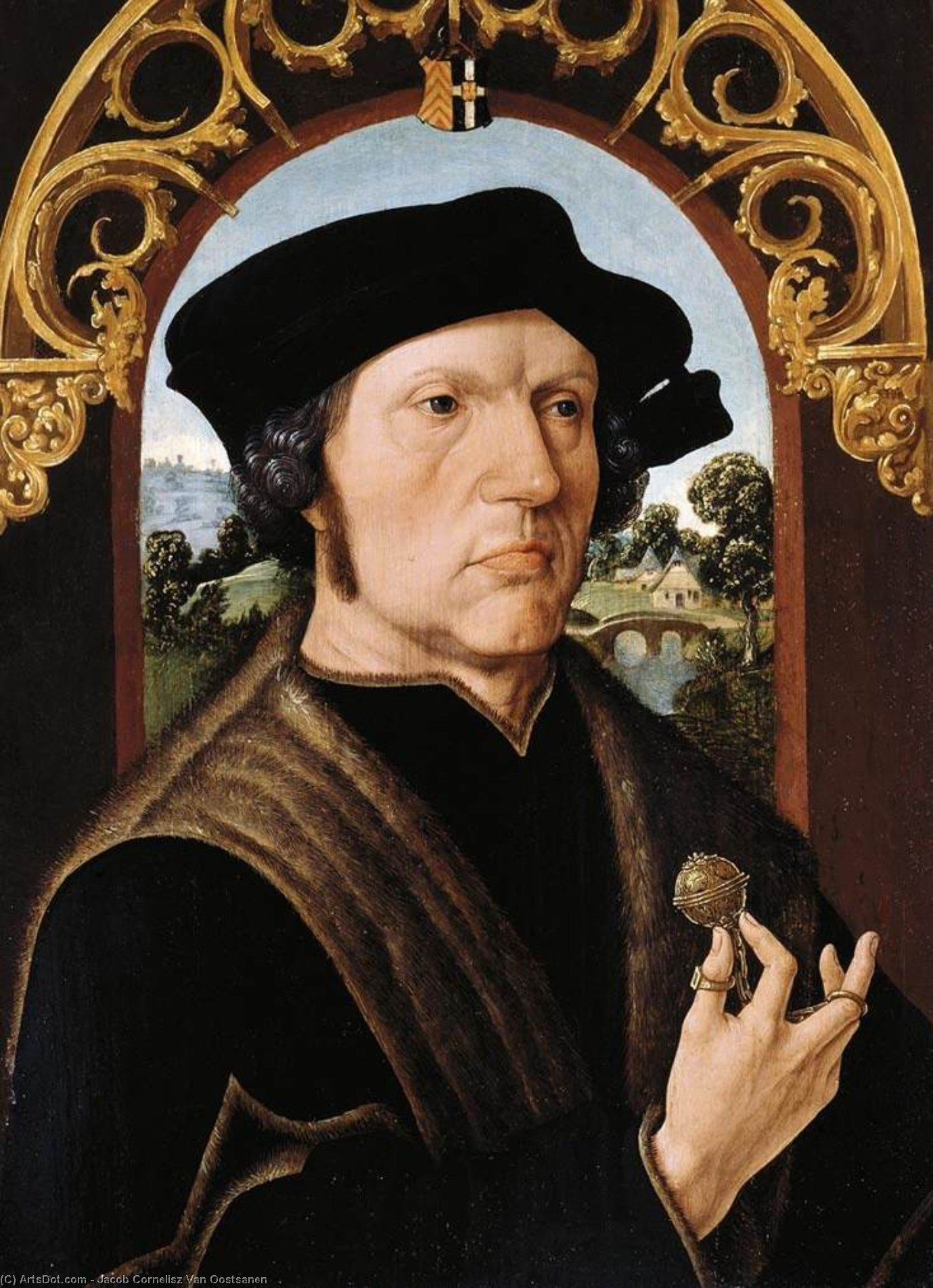 Portrait of a Man, 1518 by Jacob Cornelisz Van Oostsanen (1470-1533, Netherlands) | Paintings Reproductions Jacob Cornelisz Van Oostsanen | ArtsDot.com