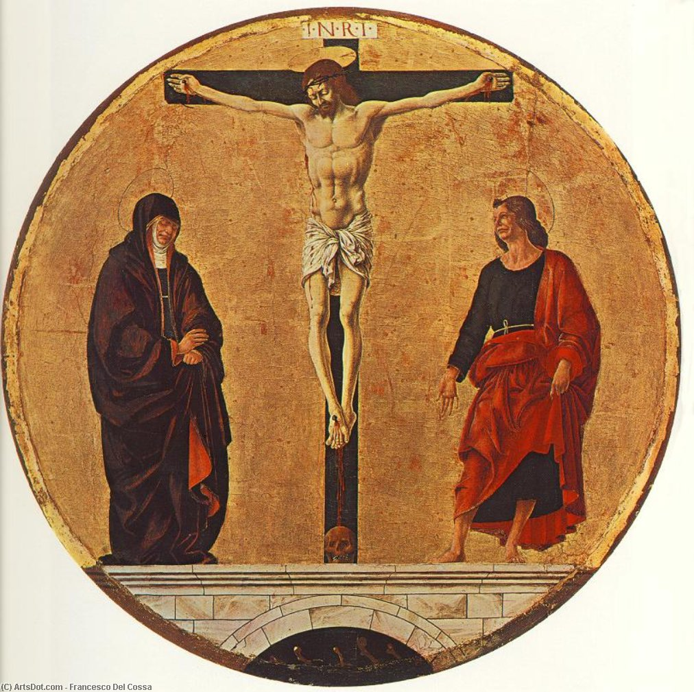Griffoni Polyptych: The Crucifixion, Oil On Panel by Francesco Del Cossa (1436-1477, Italy)