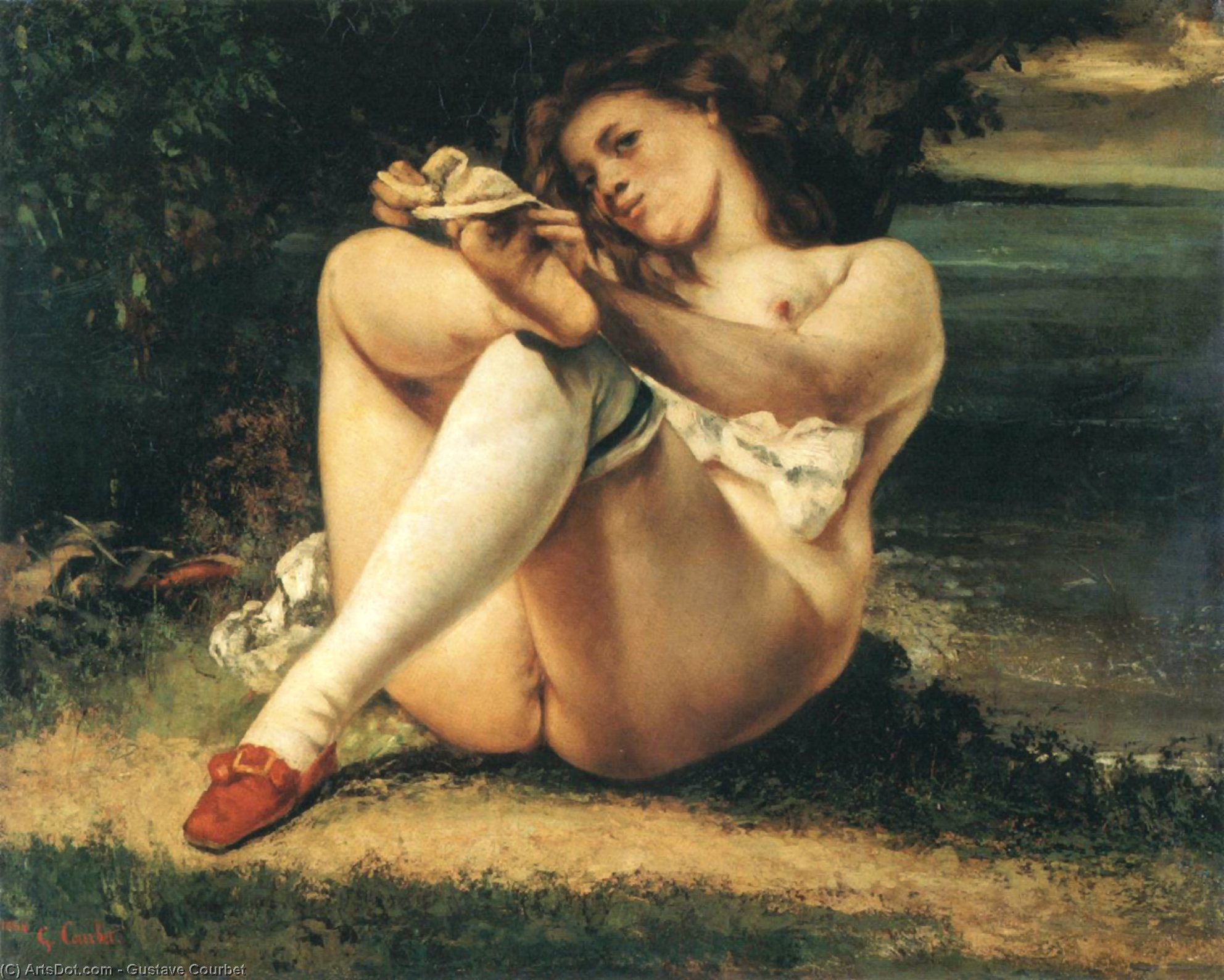 Woman with White Stockings, 1861 by Gustave Courbet (1819-1877, France) | Reproductions Gustave Courbet | ArtsDot.com