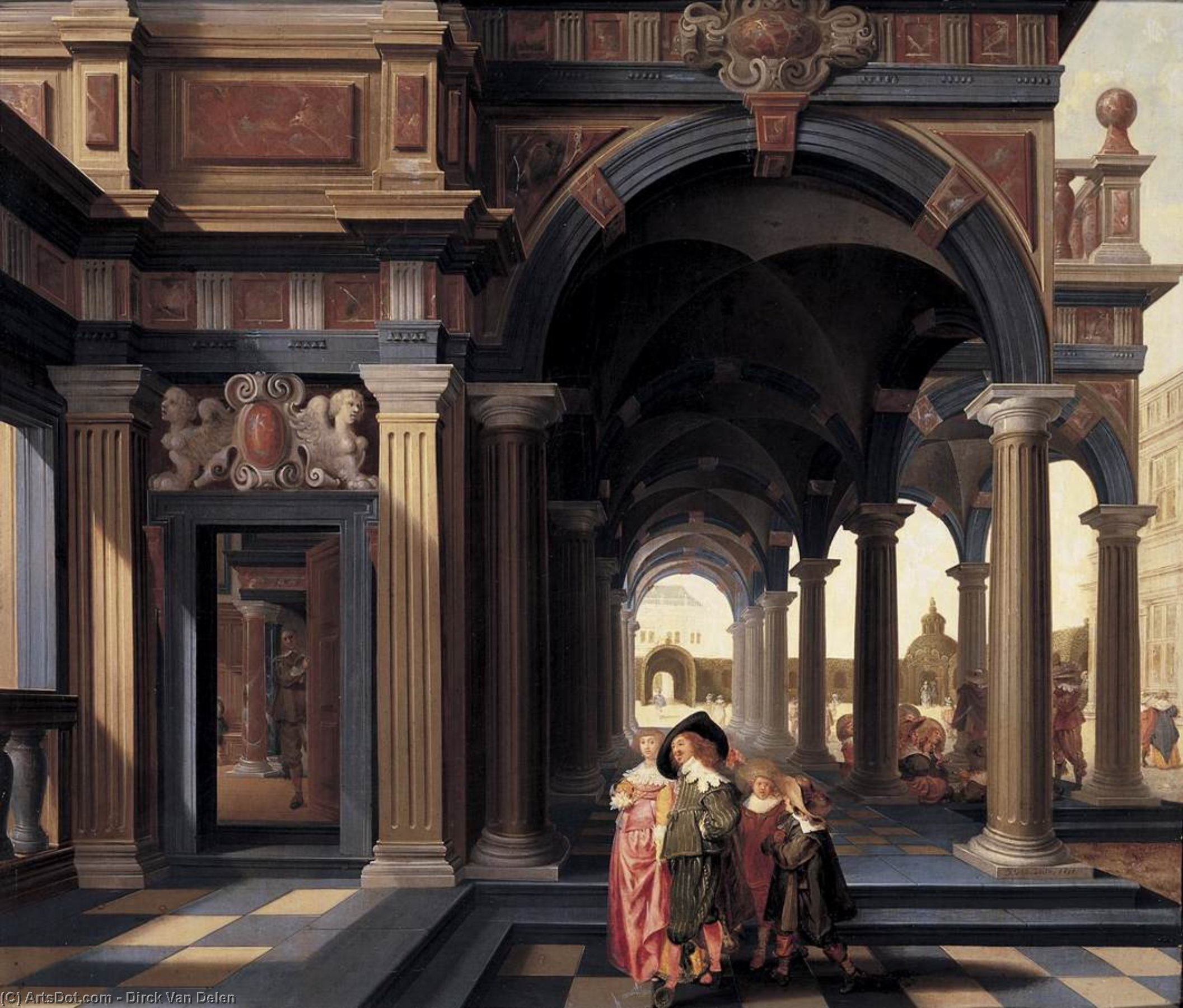Elegant Figures in a Loggia, Oil On Panel by Dirck Van Delen (1605-1671, Netherlands)