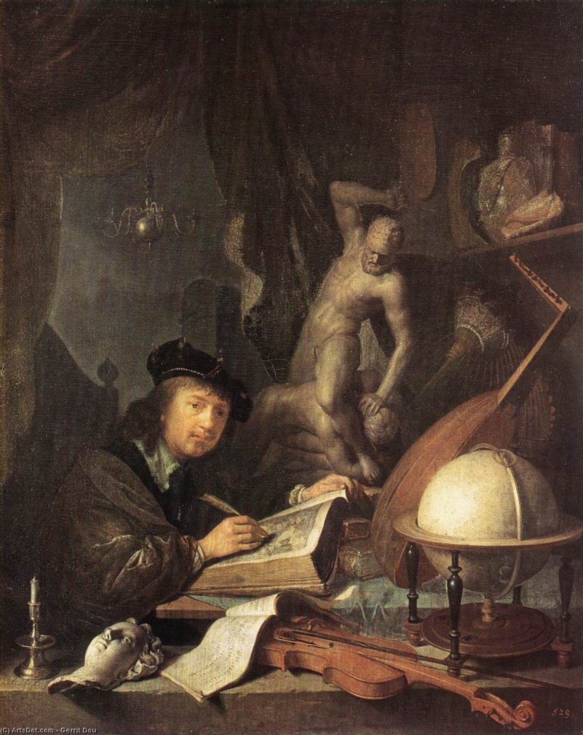 Painter in his Studio, Oil by Gerrit (Gérard) Dou (1613-1675, Netherlands)
