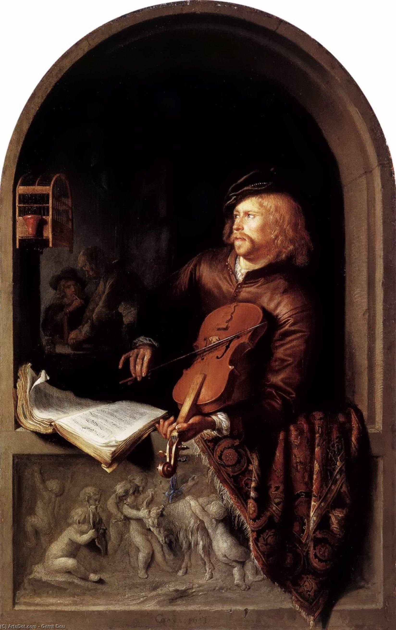 Violon Player, Oil On Panel by Gerrit Dou (1613-1675, Netherlands)